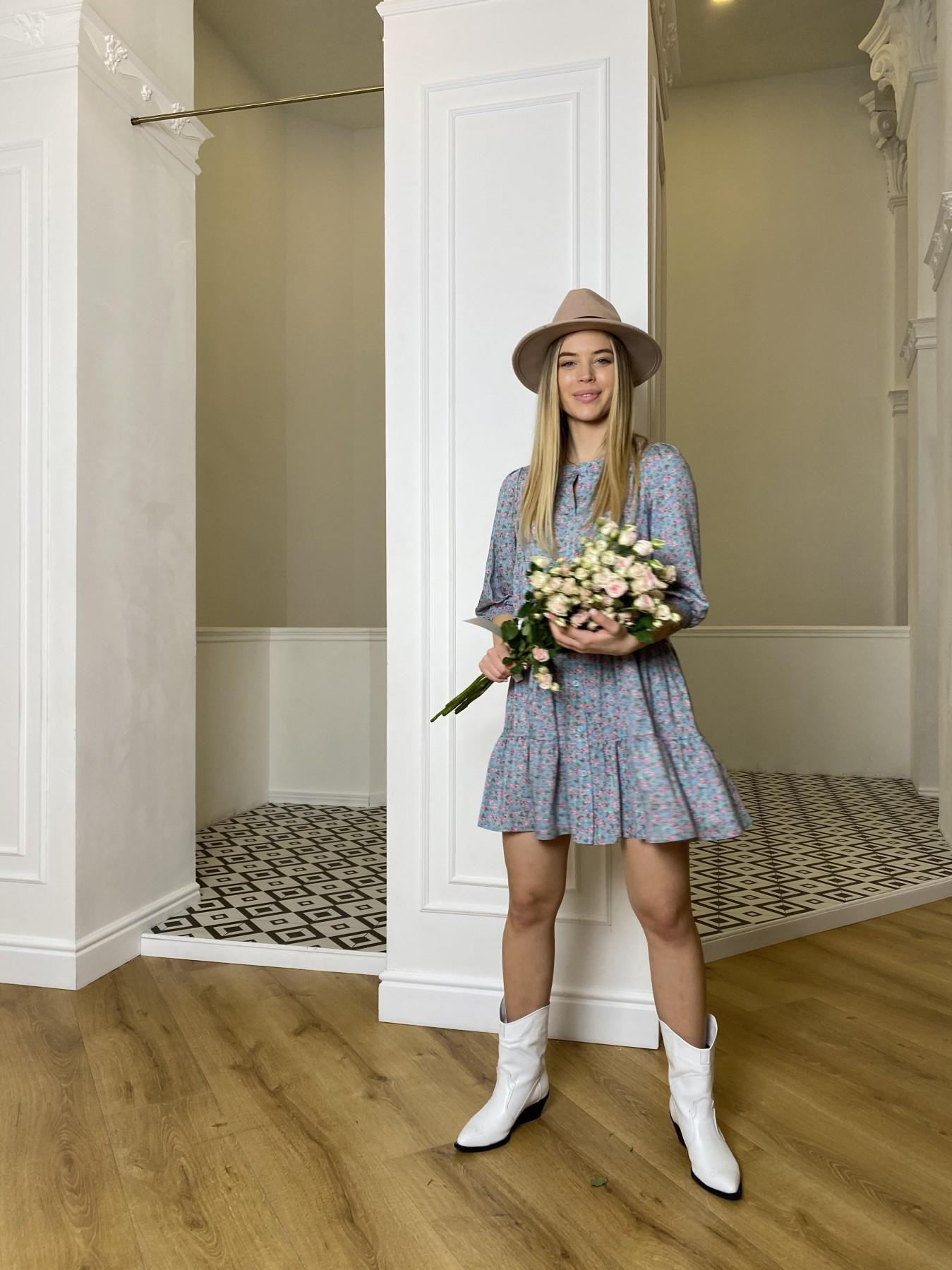 Берри штапель принт платье 10872 АРТ. 47327 Цвет: Цветы мел олива/роз/гол - фото 1, интернет магазин tm-modus.ru