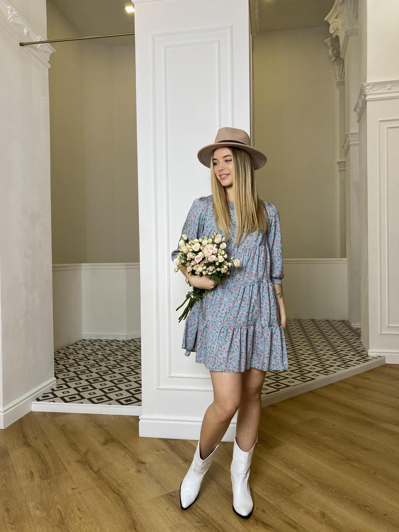Берри штапель принт платье 10872 АРТ. 47327 Цвет: Цветы мел олива/роз/гол - фото 2, интернет магазин tm-modus.ru