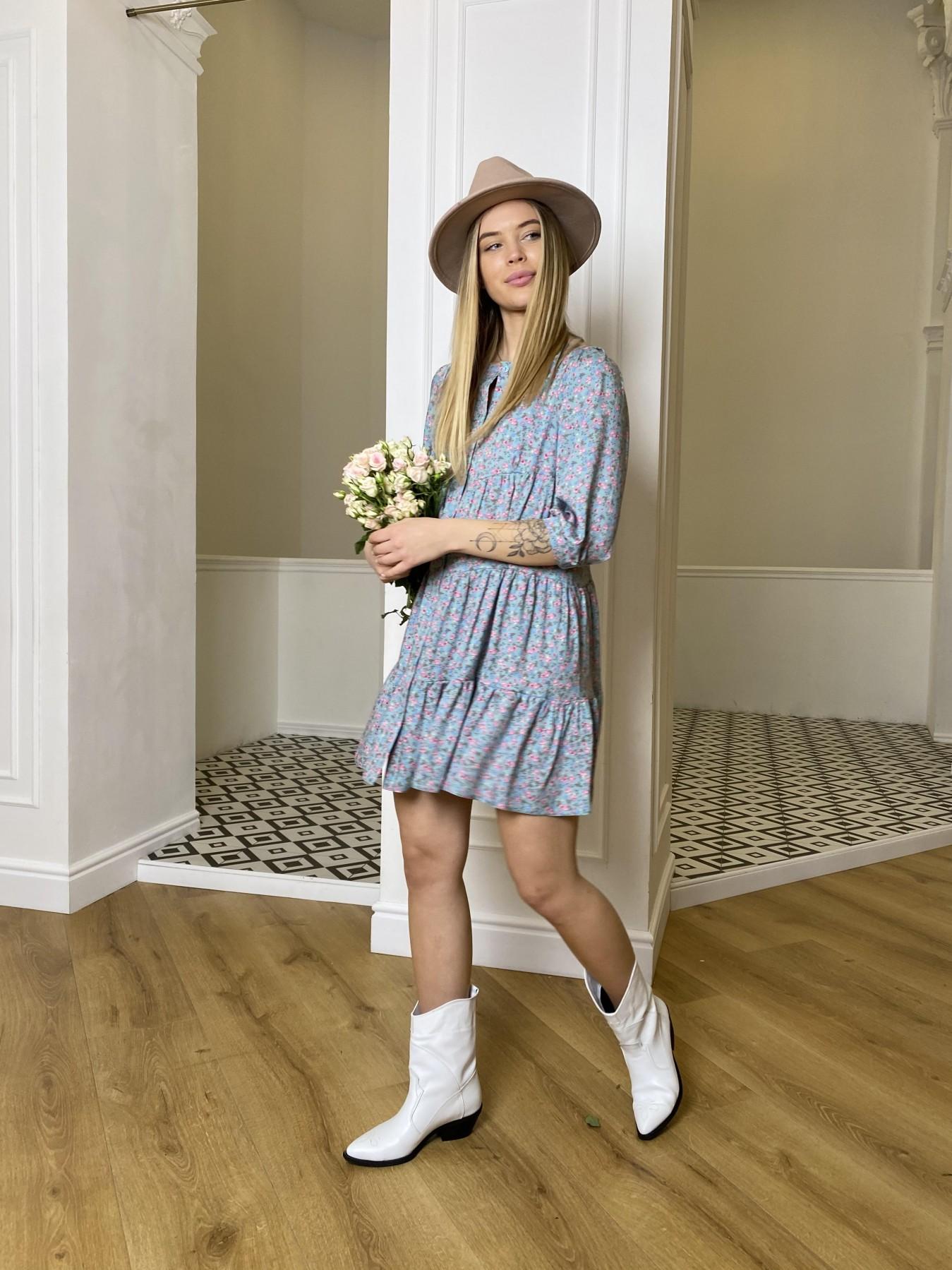 Берри штапель принт платье 10872 АРТ. 47327 Цвет: Цветы мел олива/роз/гол - фото 3, интернет магазин tm-modus.ru