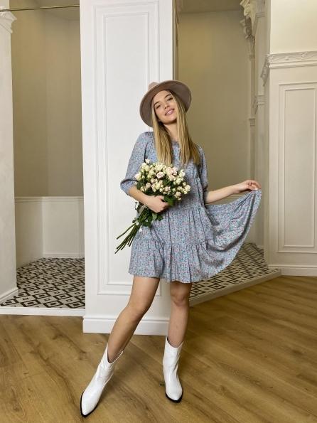 Купить Берри штапель принт платье 10872 оптом и в розницу