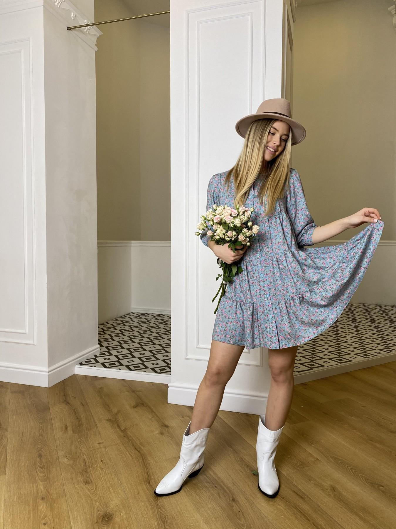 Берри штапель принт платье 10872 АРТ. 47327 Цвет: Цветы мел олива/роз/гол - фото 5, интернет магазин tm-modus.ru