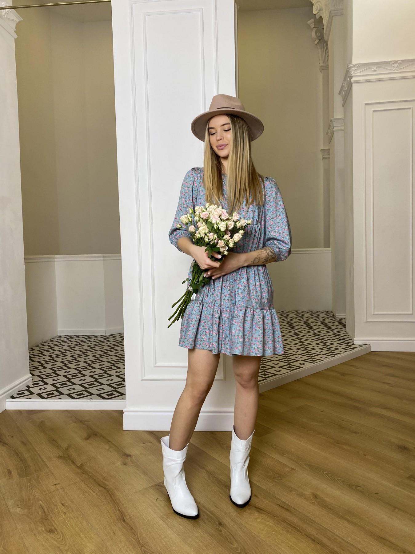 Берри штапель принт платье 10872 АРТ. 47327 Цвет: Цветы мел олива/роз/гол - фото 6, интернет магазин tm-modus.ru
