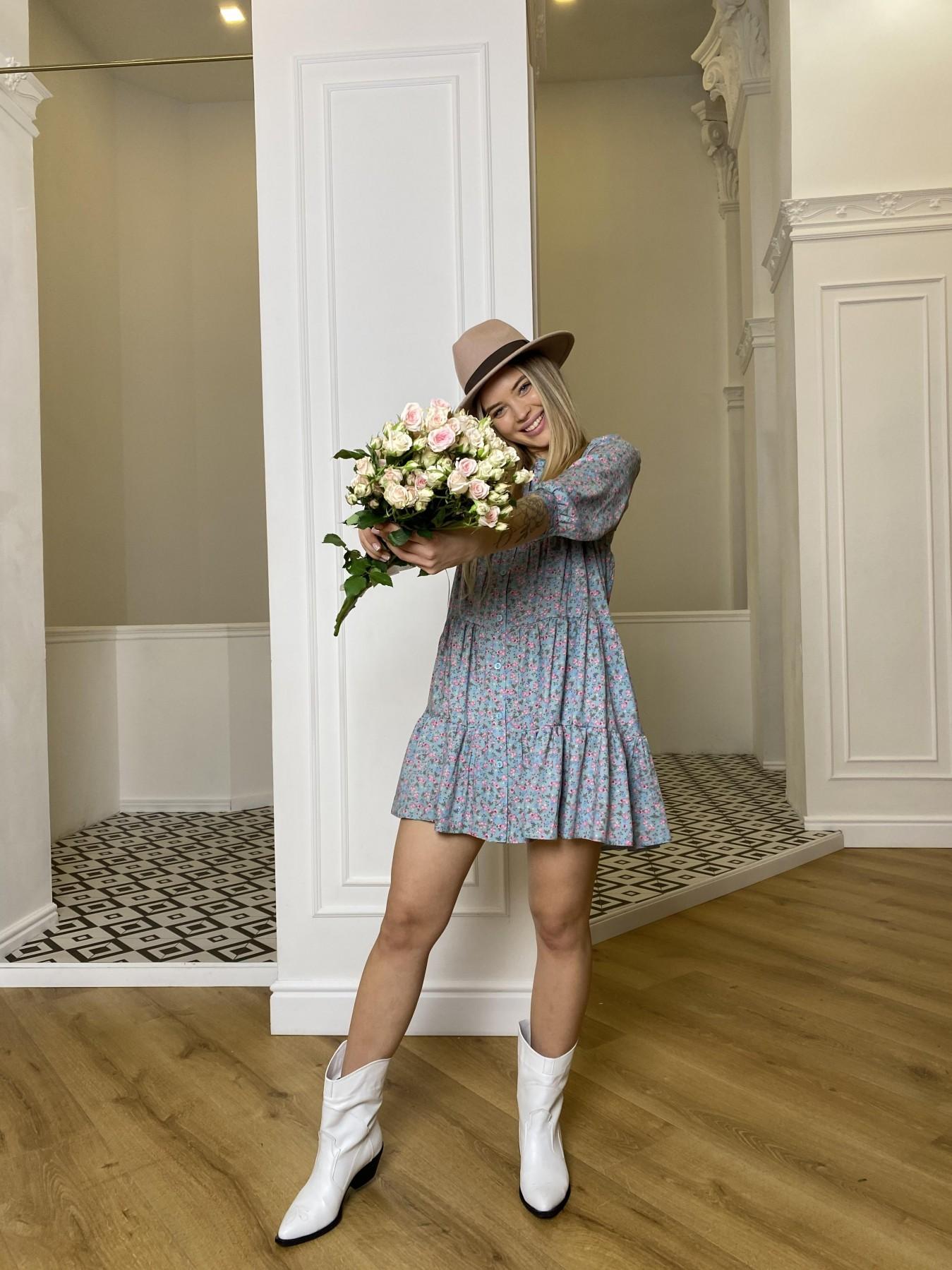 Берри штапель принт платье 10872 АРТ. 47327 Цвет: Цветы мел олива/роз/гол - фото 7, интернет магазин tm-modus.ru