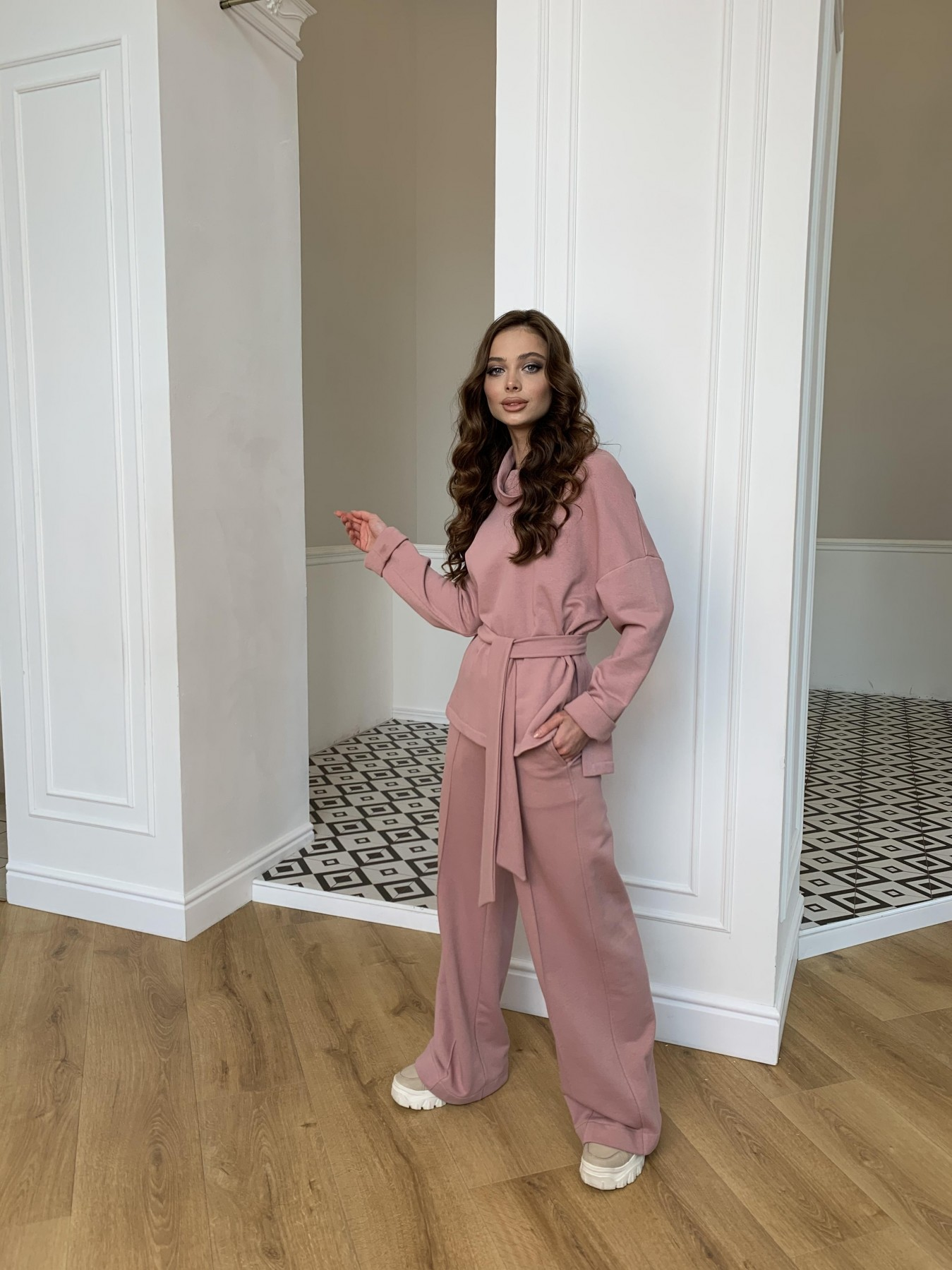 Джаст костюм Oversize  3х нитка 10564 АРТ. 47244 Цвет: Пудра - фото 2, интернет магазин tm-modus.ru