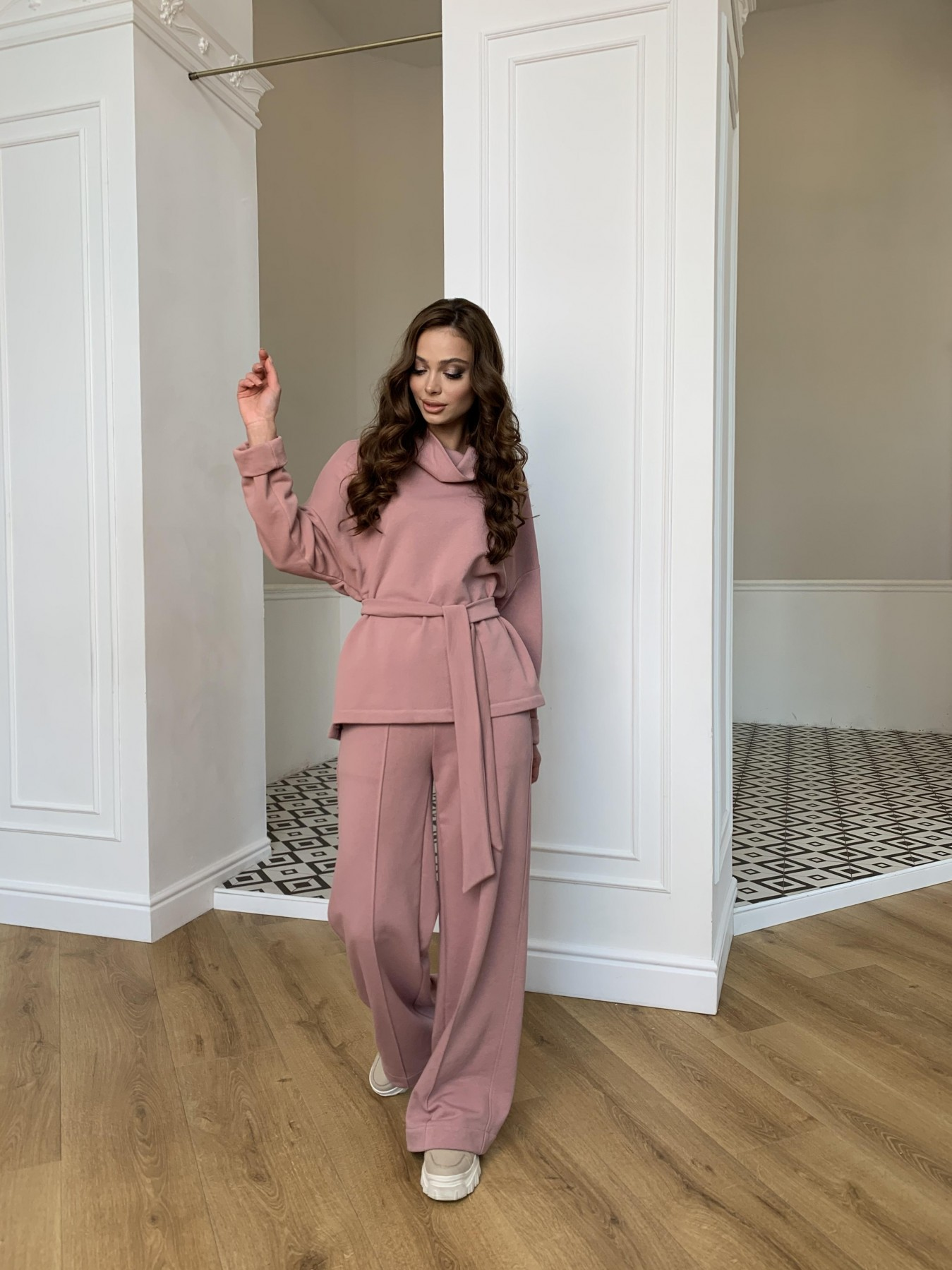 Джаст костюм Oversize  3х нитка 10564 АРТ. 47244 Цвет: Пудра - фото 3, интернет магазин tm-modus.ru