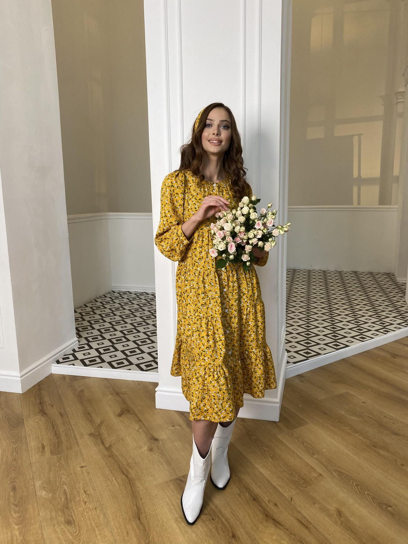 Берри платье  штапель принт 10872 АРТ. 47341 Цвет: Цветы мел горч/бел/гол - фото 5, интернет магазин tm-modus.ru