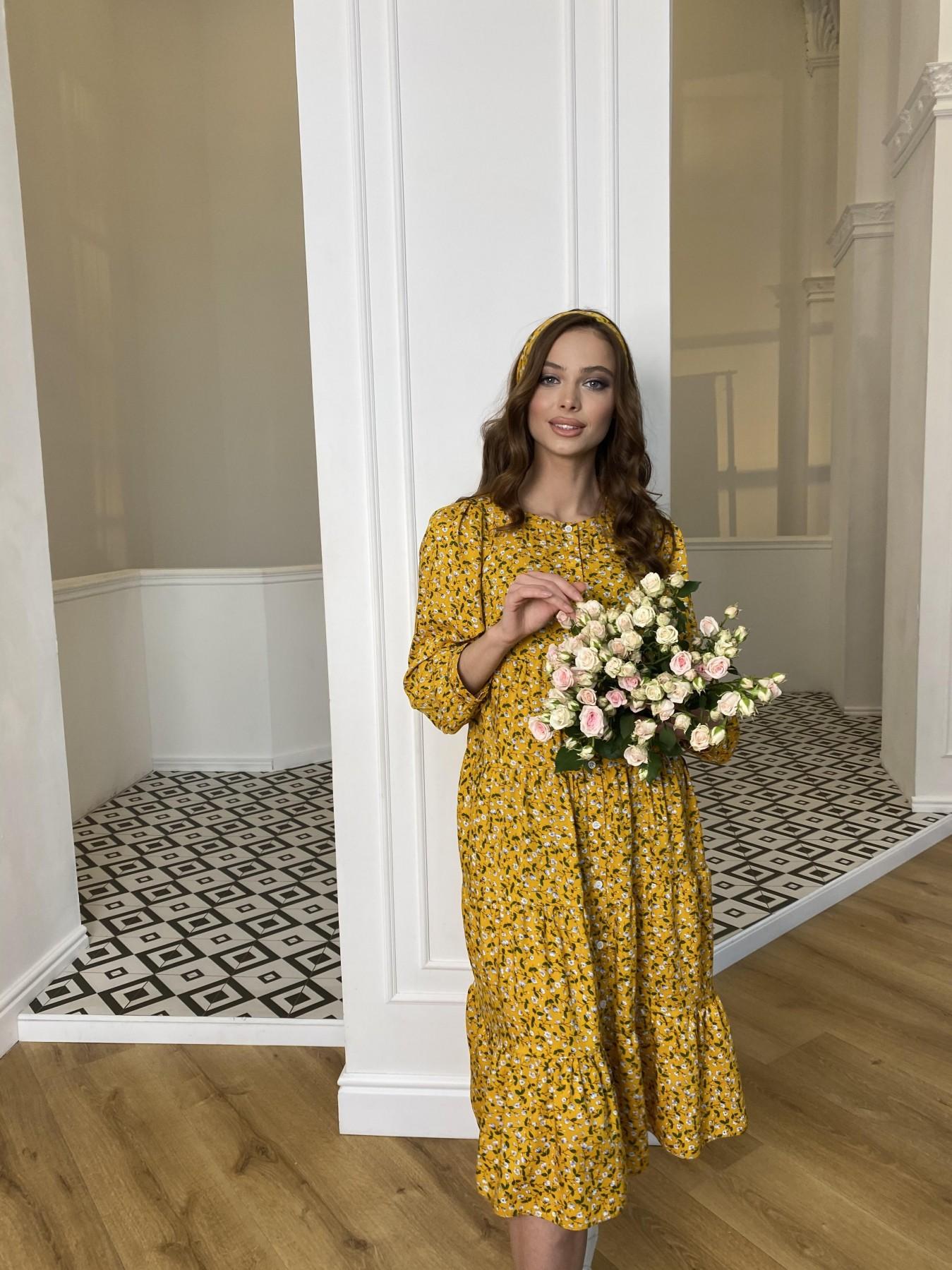 Берри платье  штапель принт 10872 АРТ. 47341 Цвет: Цветы мел горч/бел/гол - фото 6, интернет магазин tm-modus.ru