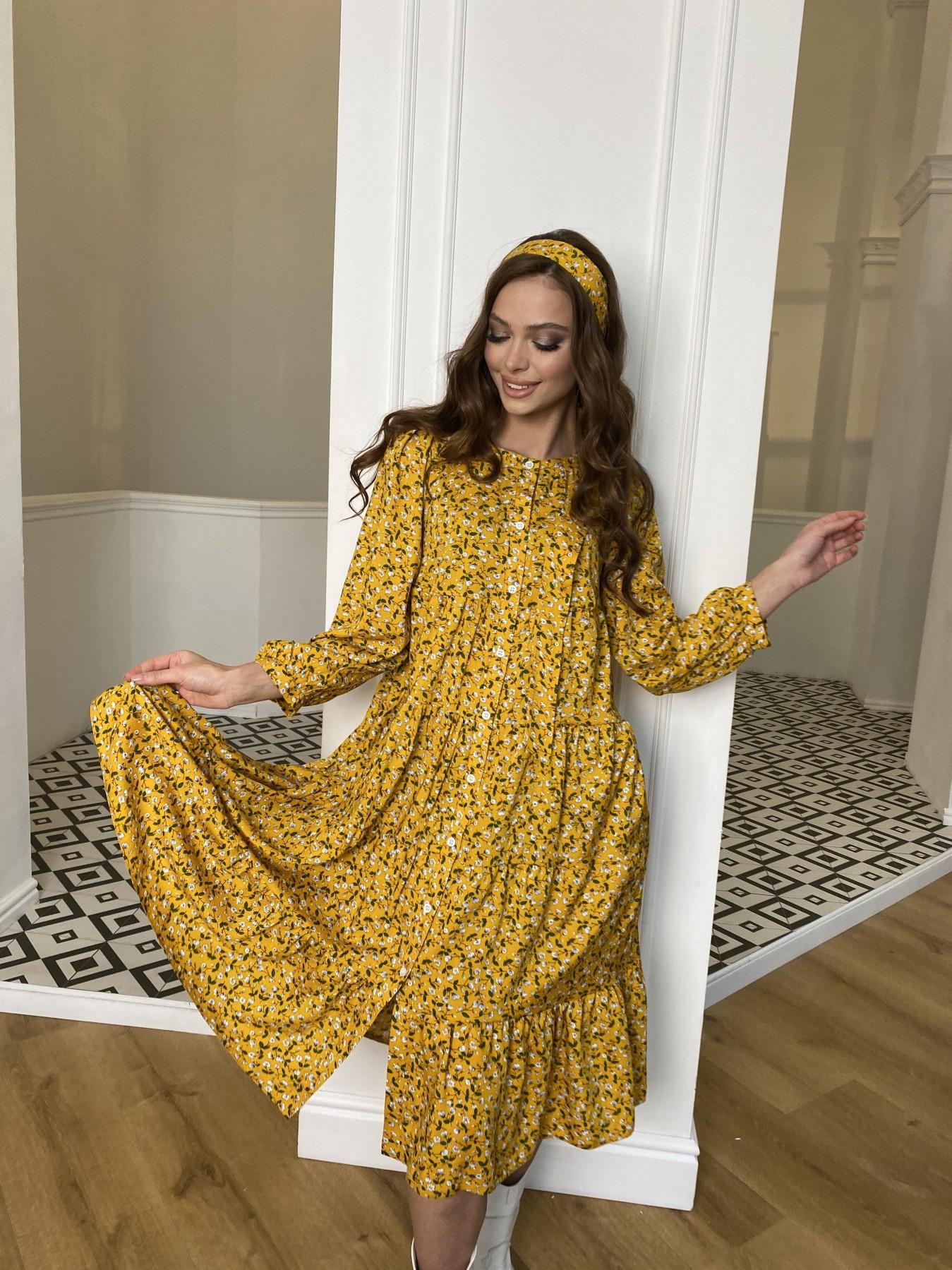 Берри платье  штапель принт 10872 АРТ. 47341 Цвет: Цветы мел горч/бел/гол - фото 8, интернет магазин tm-modus.ru