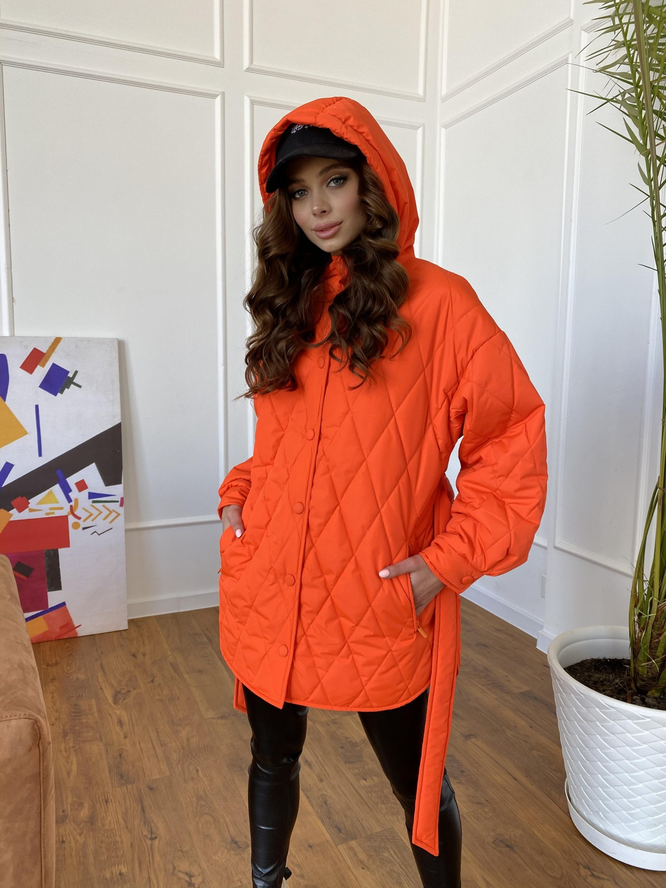 Пазл стеганая куртка из плащевки 10890 АРТ. 47448 Цвет: Оранжевый 788 - фото 6, интернет магазин tm-modus.ru
