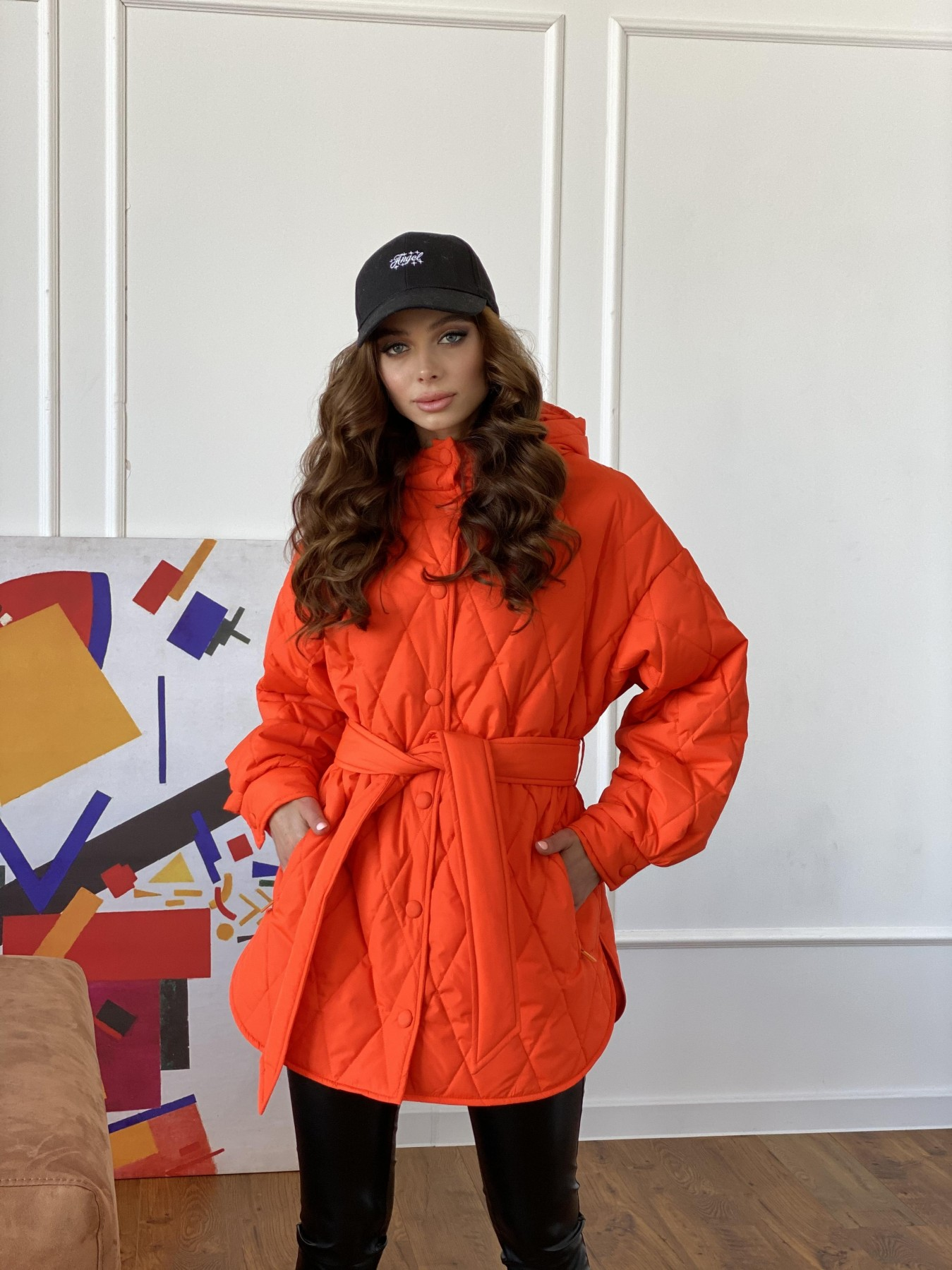 Пазл стеганая куртка из плащевки 10890 АРТ. 47448 Цвет: Оранжевый 788 - фото 8, интернет магазин tm-modus.ru