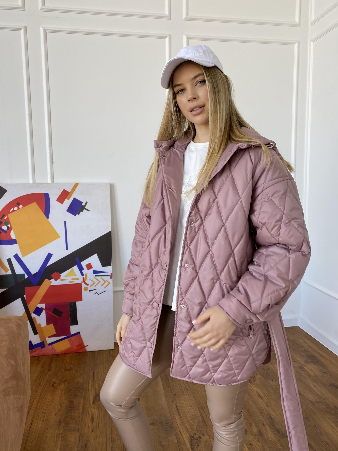 Пазл стеганая куртка из плащевки 10890 АРТ. 47400 Цвет: Пудра - фото 4, интернет магазин tm-modus.ru