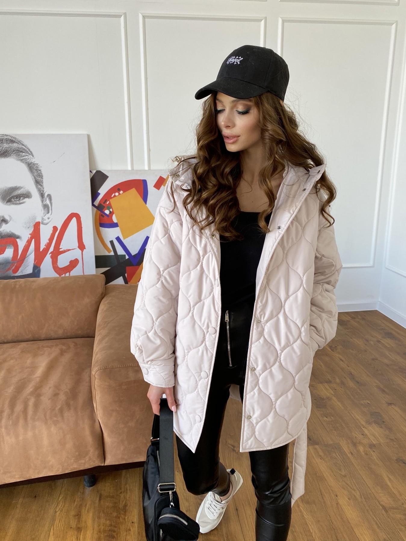 Пазл ЗИГЗАГ  стеганая куртка из плащевой ткани Ammy 10979 АРТ. 47471 Цвет: Бежевый 970 - фото 4, интернет магазин tm-modus.ru