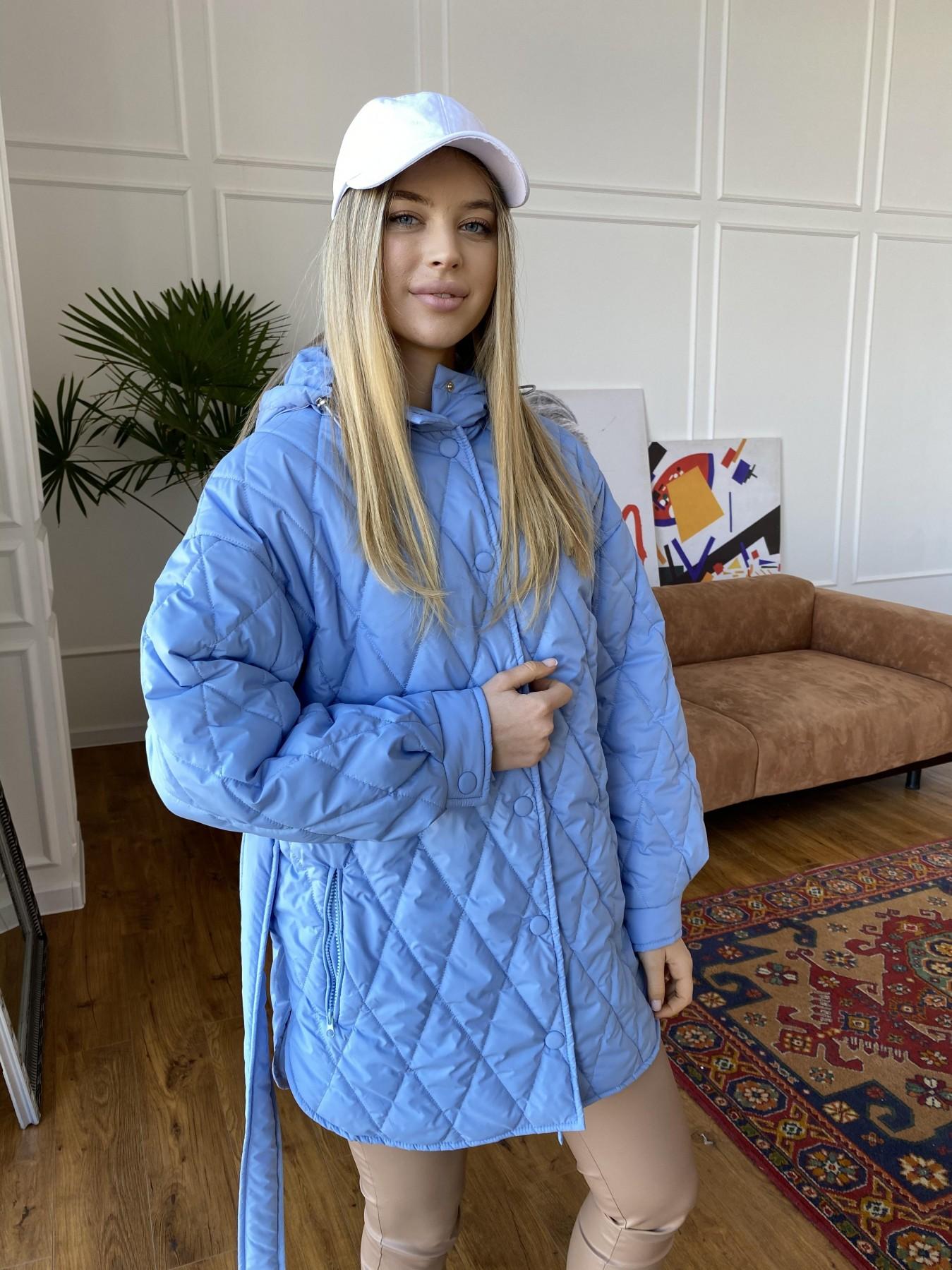 Пазл стеганая куртка из плащевки 10890 АРТ. 47424 Цвет: Голубой - фото 4, интернет магазин tm-modus.ru