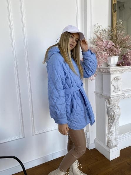 Пазл стеганая куртка из плащевки 10890 Цвет: Голубой