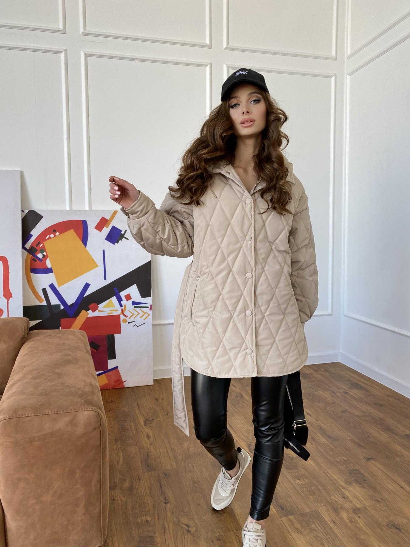 Пазл стеганая куртка из плащевки 10890 АРТ. 47449 Цвет: Бежевый - фото 4, интернет магазин tm-modus.ru
