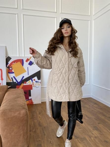 Пазл стеганая куртка из плащевки 10890 Цвет: Бежевый
