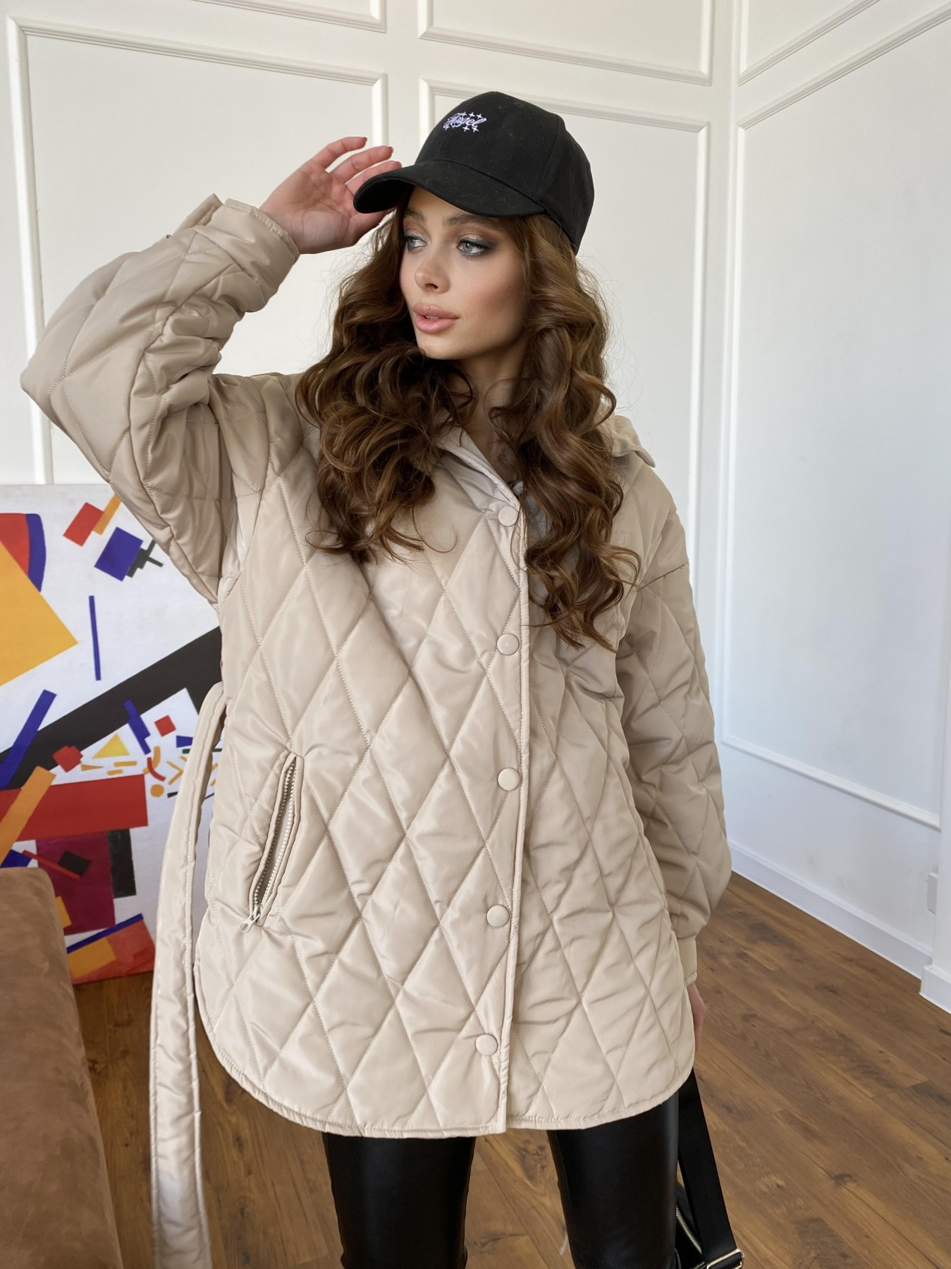 Пазл стеганая куртка из плащевки 10890 АРТ. 47449 Цвет: Бежевый - фото 6, интернет магазин tm-modus.ru