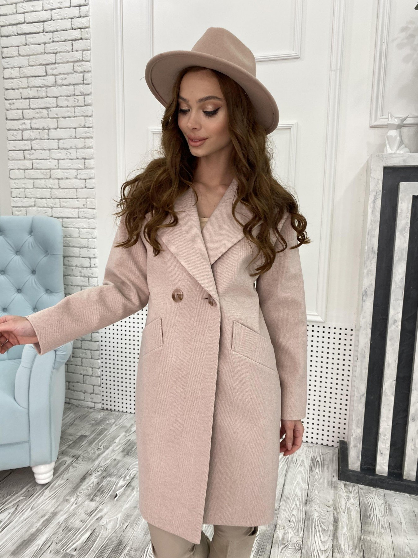 Пальто женское демисезонное купить в интернете Сенсей Елка пальтовая ткань пальто 10791