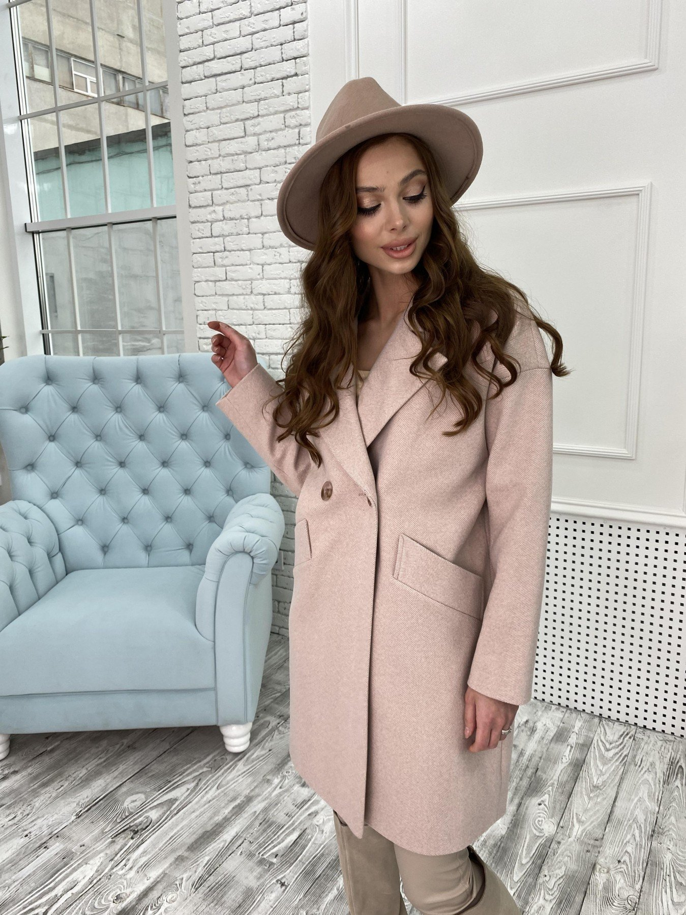 Сенсей Елка пальтовая ткань пальто 10791 АРТ. 47273 Цвет: Пудра - фото 2, интернет магазин tm-modus.ru