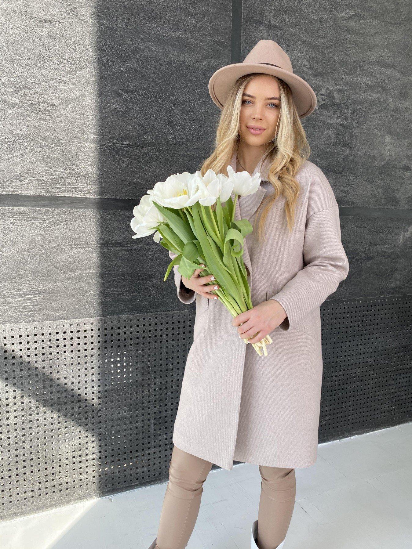 Сенсей диагональ  пальто 10661 АРТ. 47063 Цвет: Бежевый - фото 1, интернет магазин tm-modus.ru