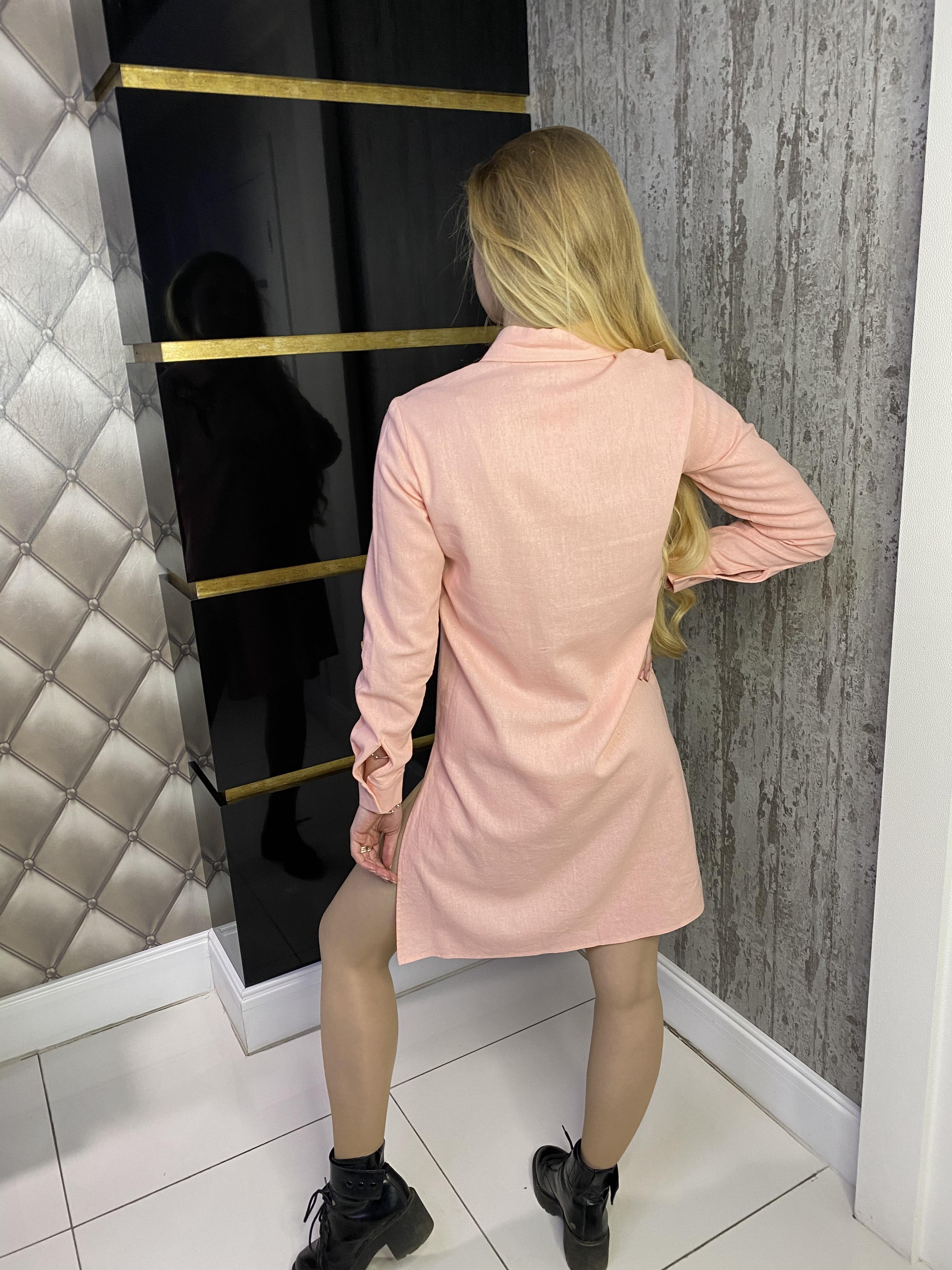 Рубашка Версо лен  АРТ. 14736 Цвет: Персик - фото 2, интернет магазин tm-modus.ru