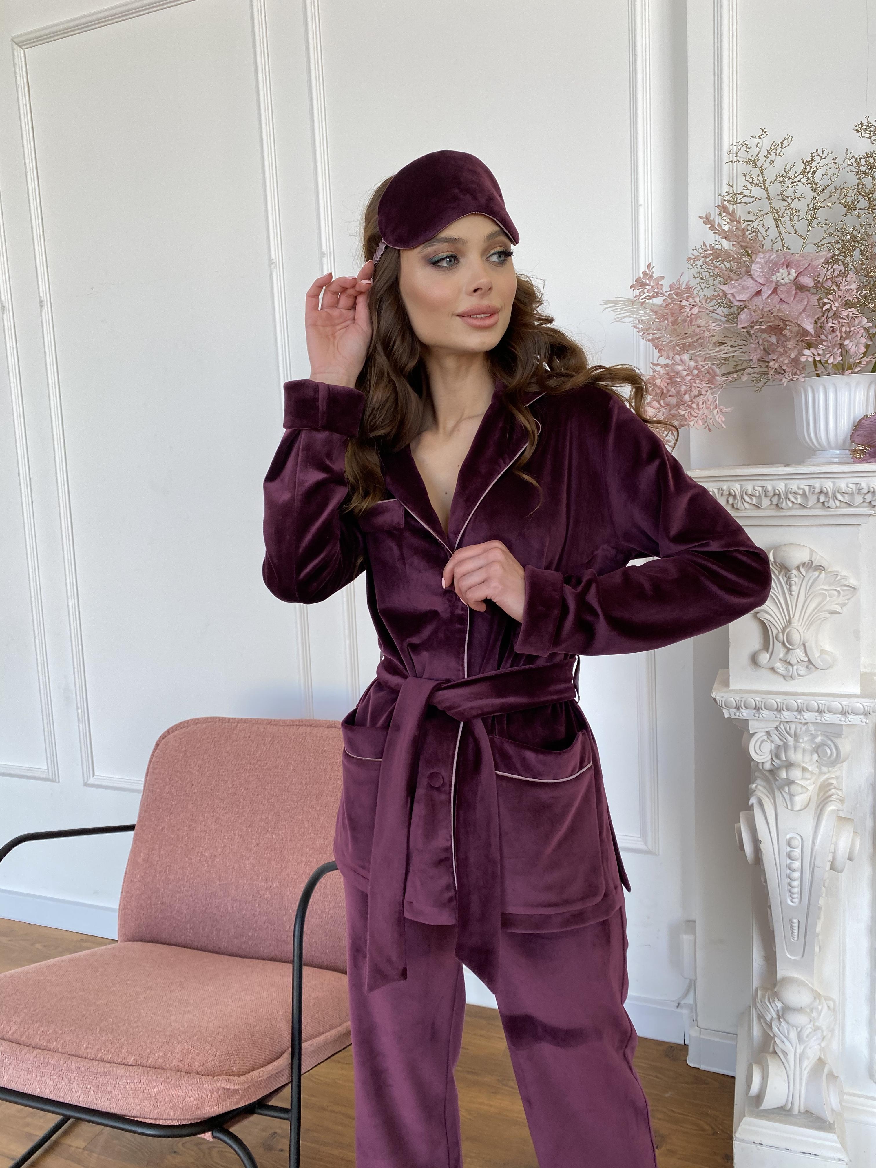 Шайн пижама велюр жакет брюки маска для сна 10353 АРТ. 46701 Цвет: Марсала - фото 5, интернет магазин tm-modus.ru