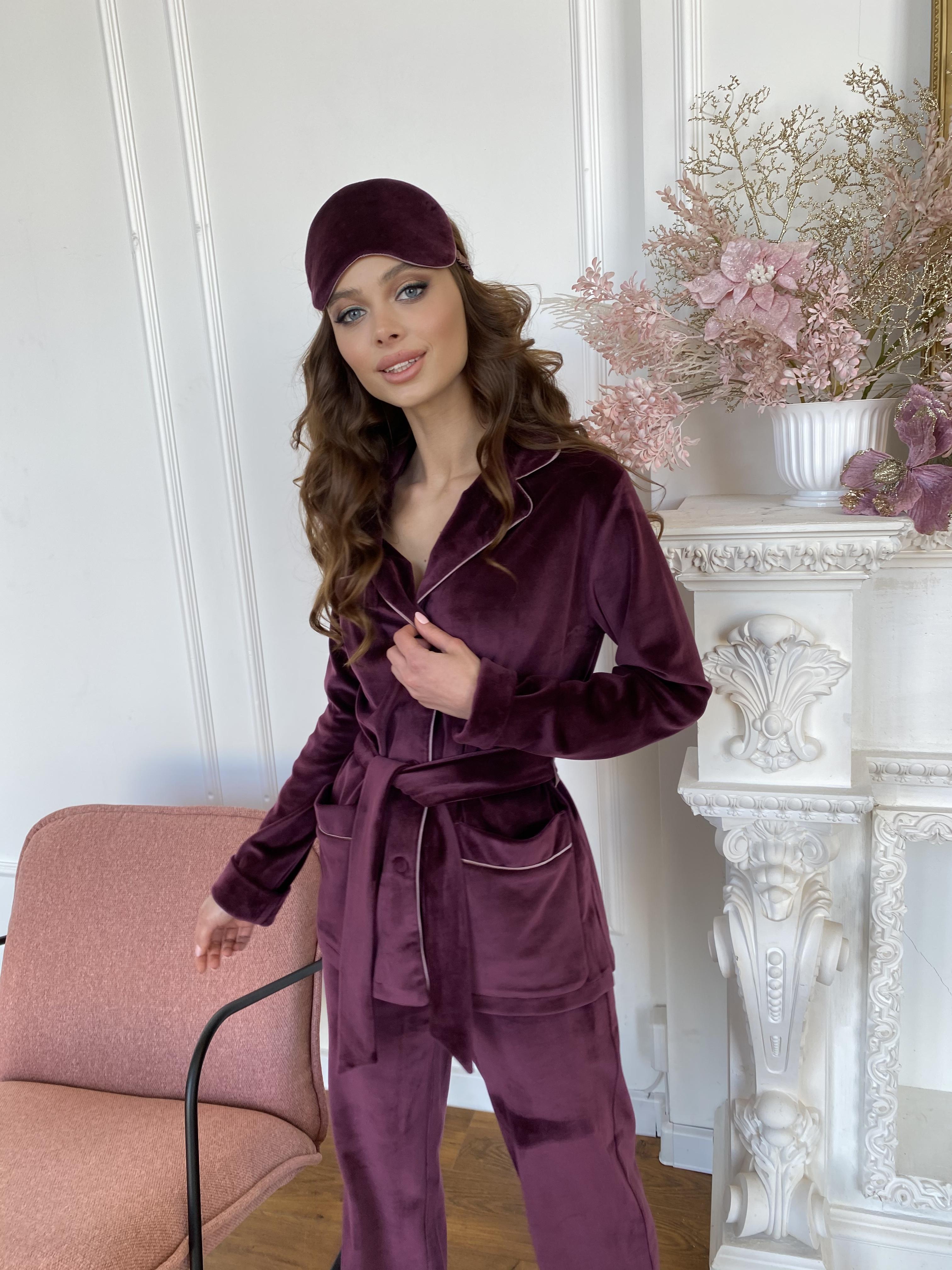 Шайн пижама велюр жакет брюки маска для сна 10353 АРТ. 46701 Цвет: Марсала - фото 7, интернет магазин tm-modus.ru