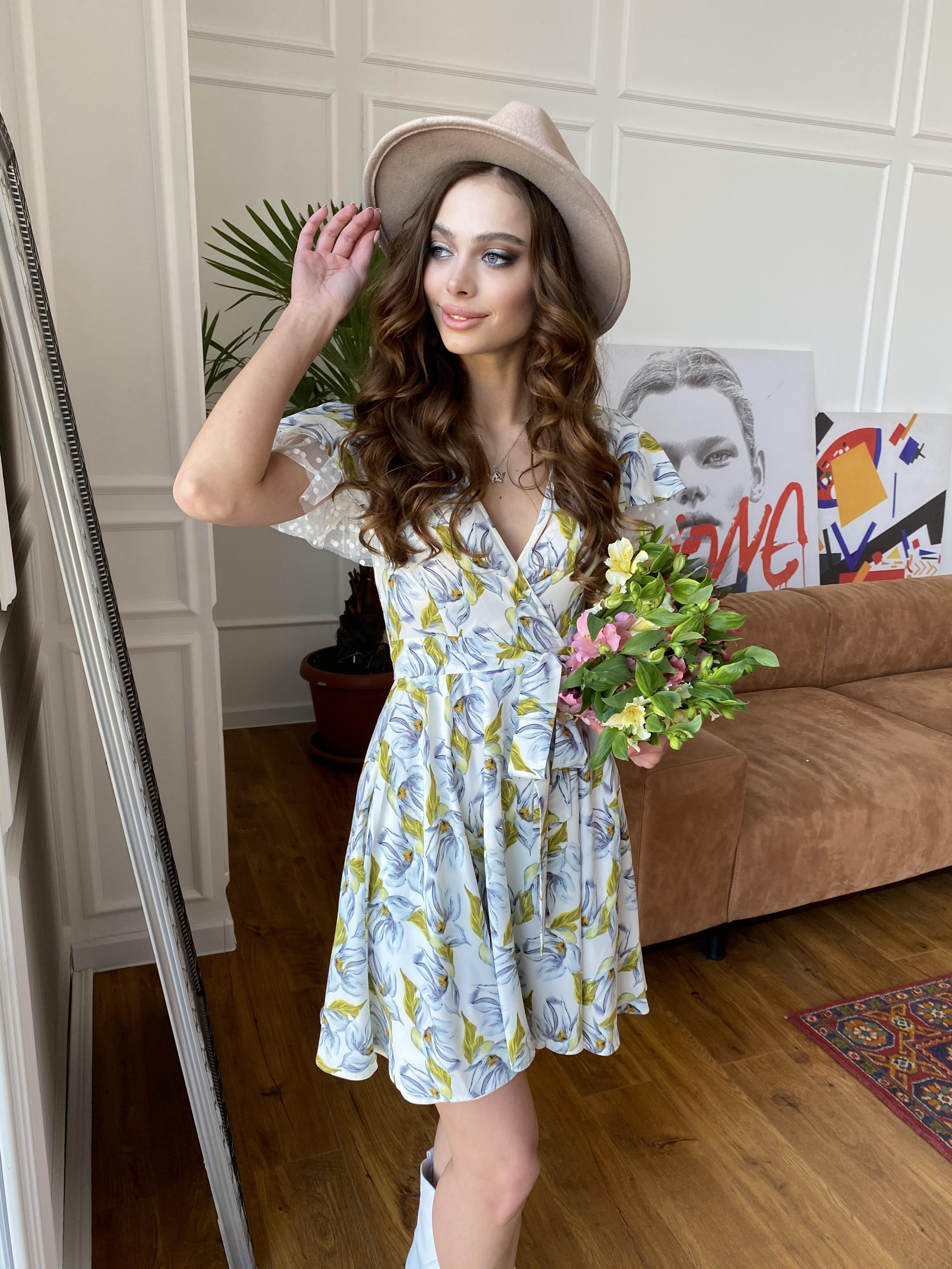 Платье Милея 7059 Цвет: Цветы голубой/молоко