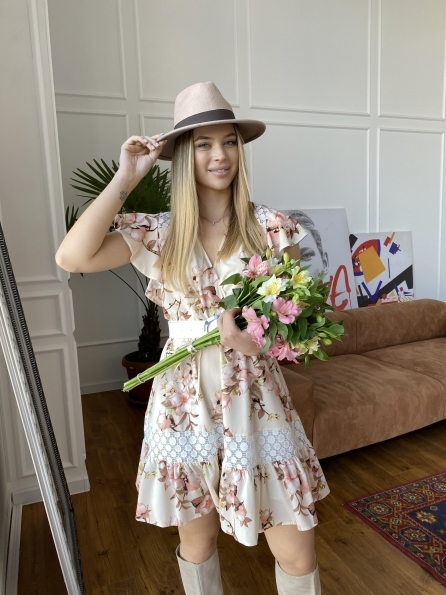 Дейнерис  платье с принтом 7217 Цвет: Цветы на ветке пудра св
