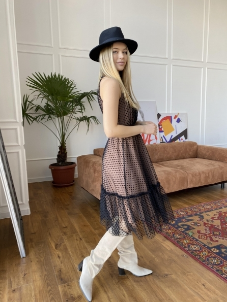 Платье Агния 8998 Цвет: Бежевый/Черный