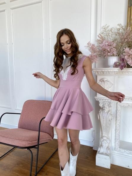 Абико платье из костюмной ткани 6651 Цвет: Пудра Темная