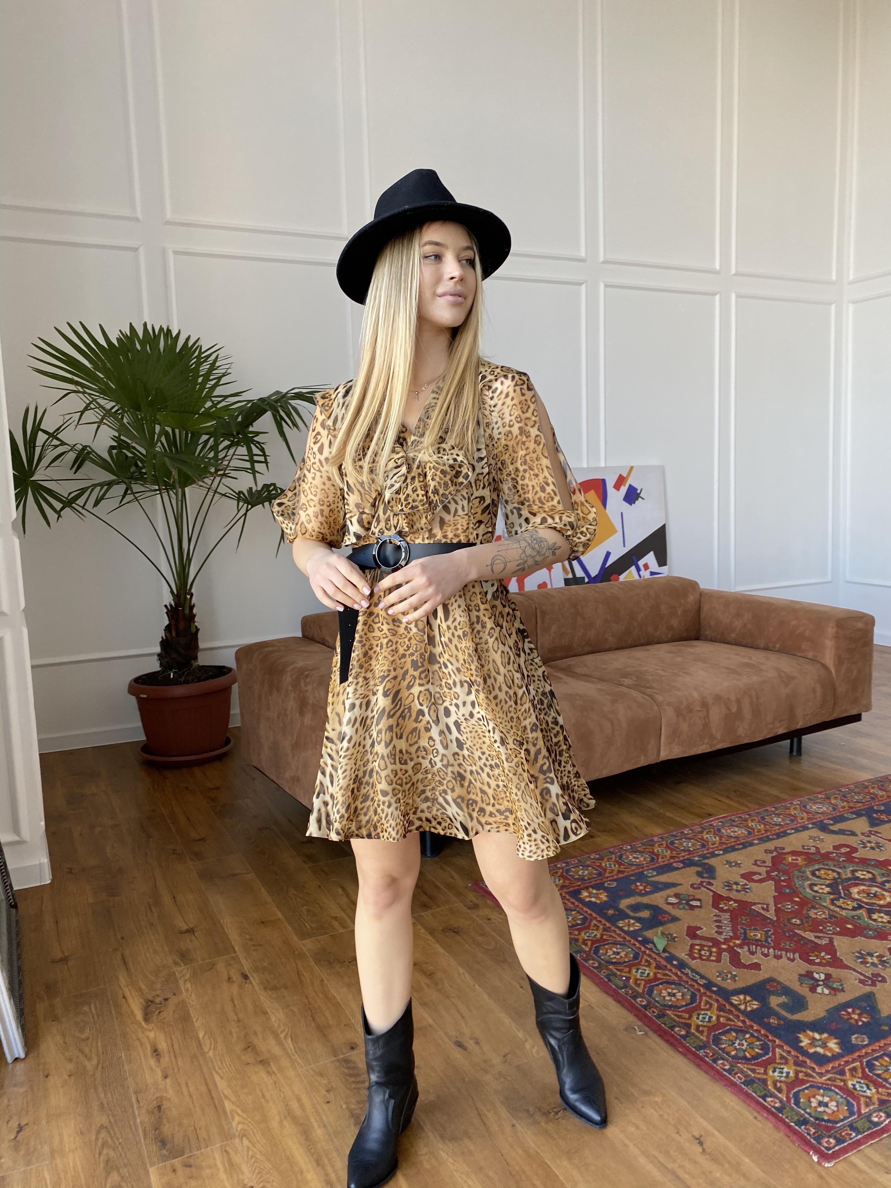 Блюз платье в леопардовый принт 7093 АРТ. 42551 Цвет: Леопард 2 - фото 3, интернет магазин tm-modus.ru
