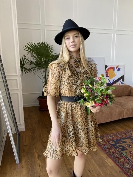 Блюз платье в леопардовый принт 7093 Цвет: Леопард 2