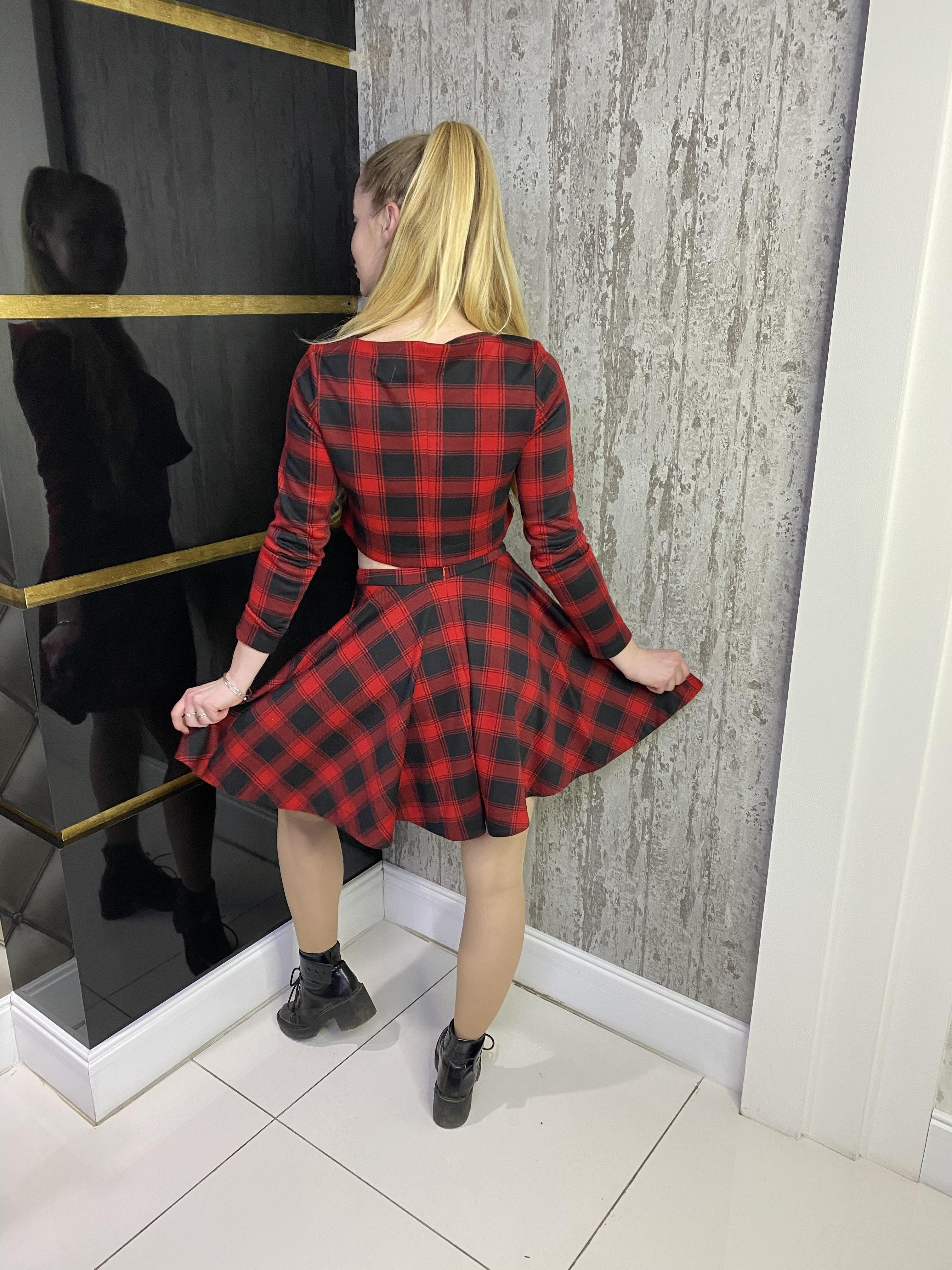 Блуза Конвер принт француз АРТ. 7873 Цвет: Черный/красный клетка средняя 4/1 - фото 2, интернет магазин tm-modus.ru