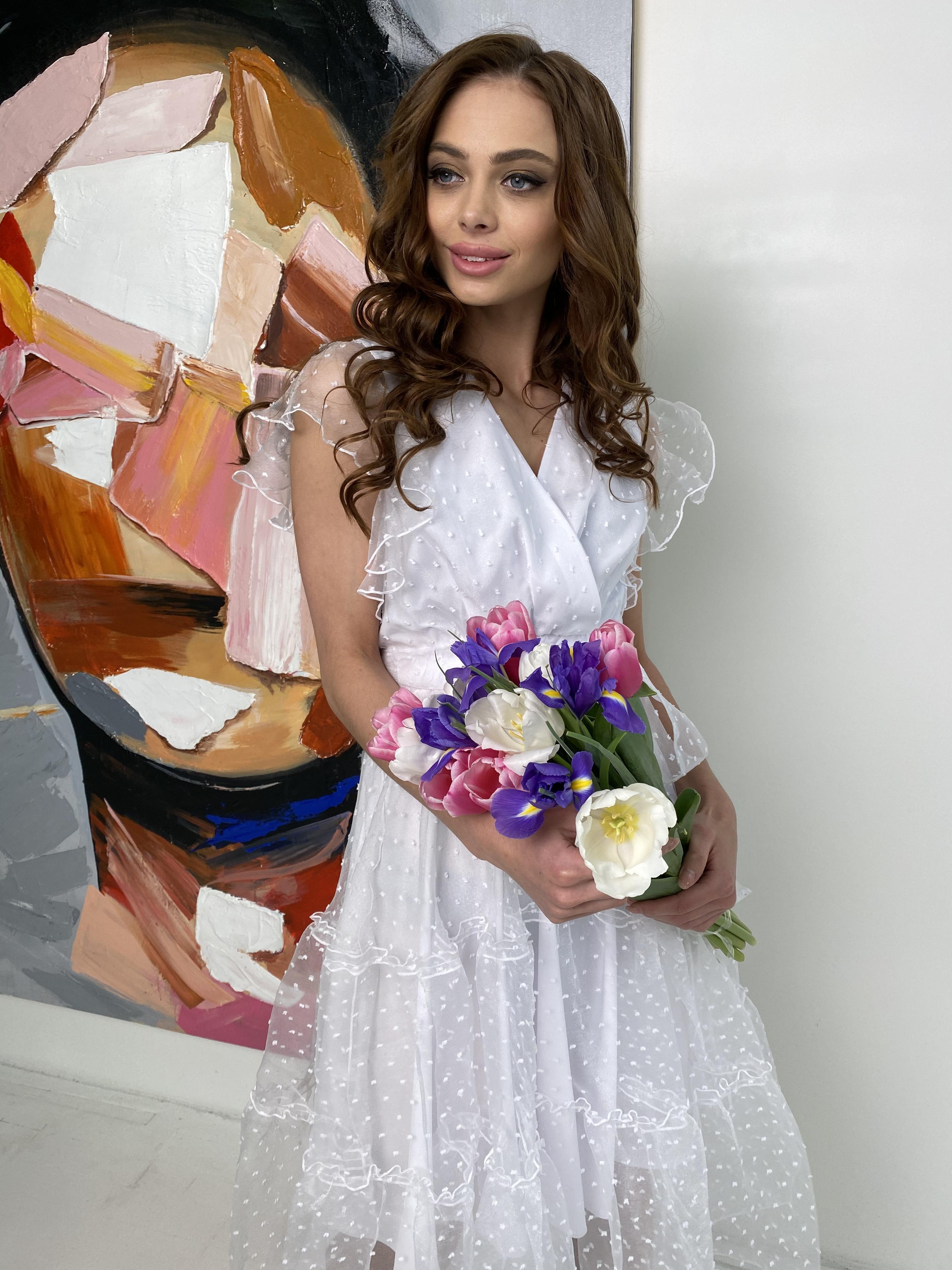 Манана платье из органзы  9101 АРТ. 45422 Цвет: Белый - фото 2, интернет магазин tm-modus.ru