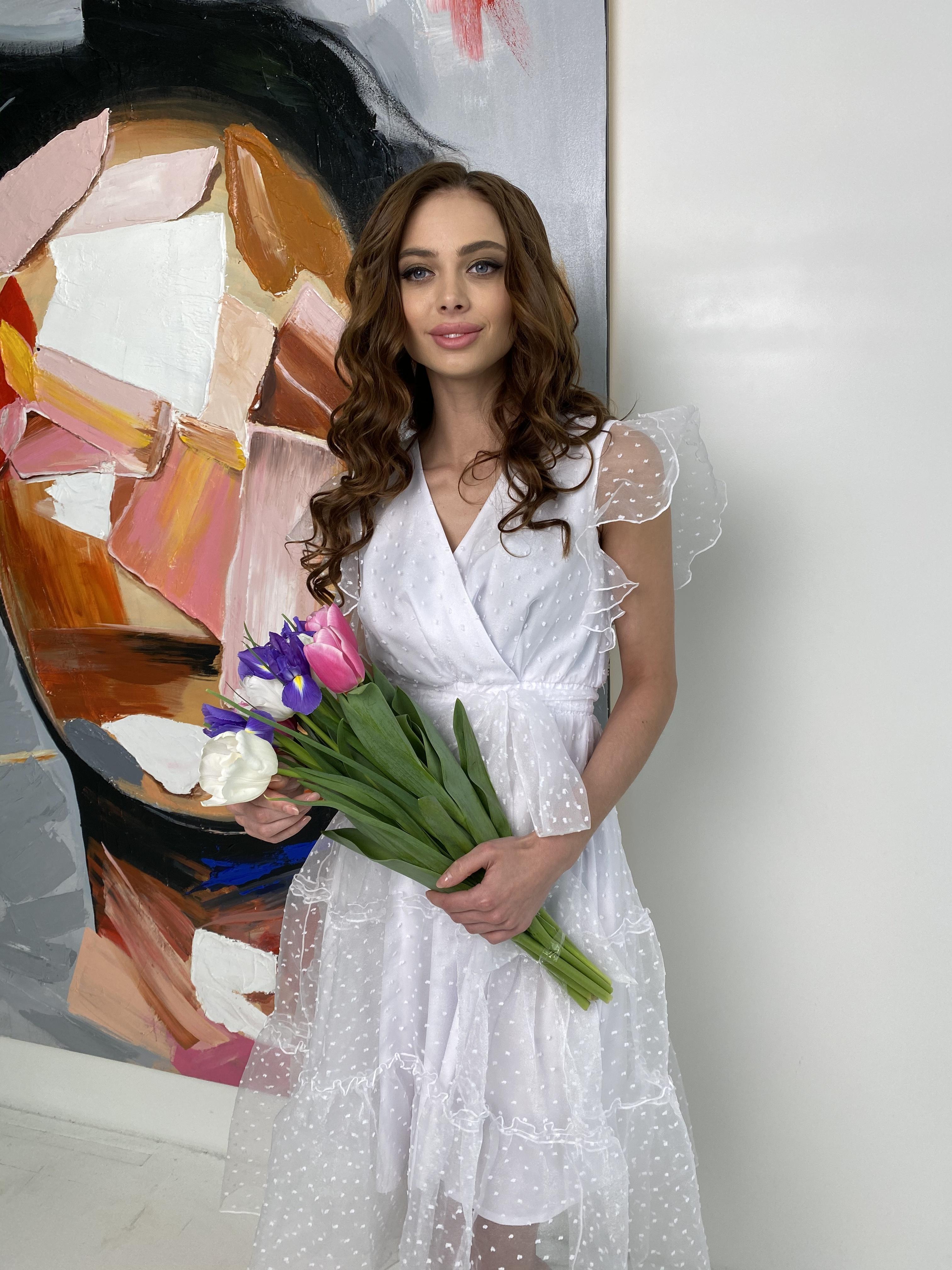 Манана платье из органзы  9101 АРТ. 45422 Цвет: Белый - фото 3, интернет магазин tm-modus.ru