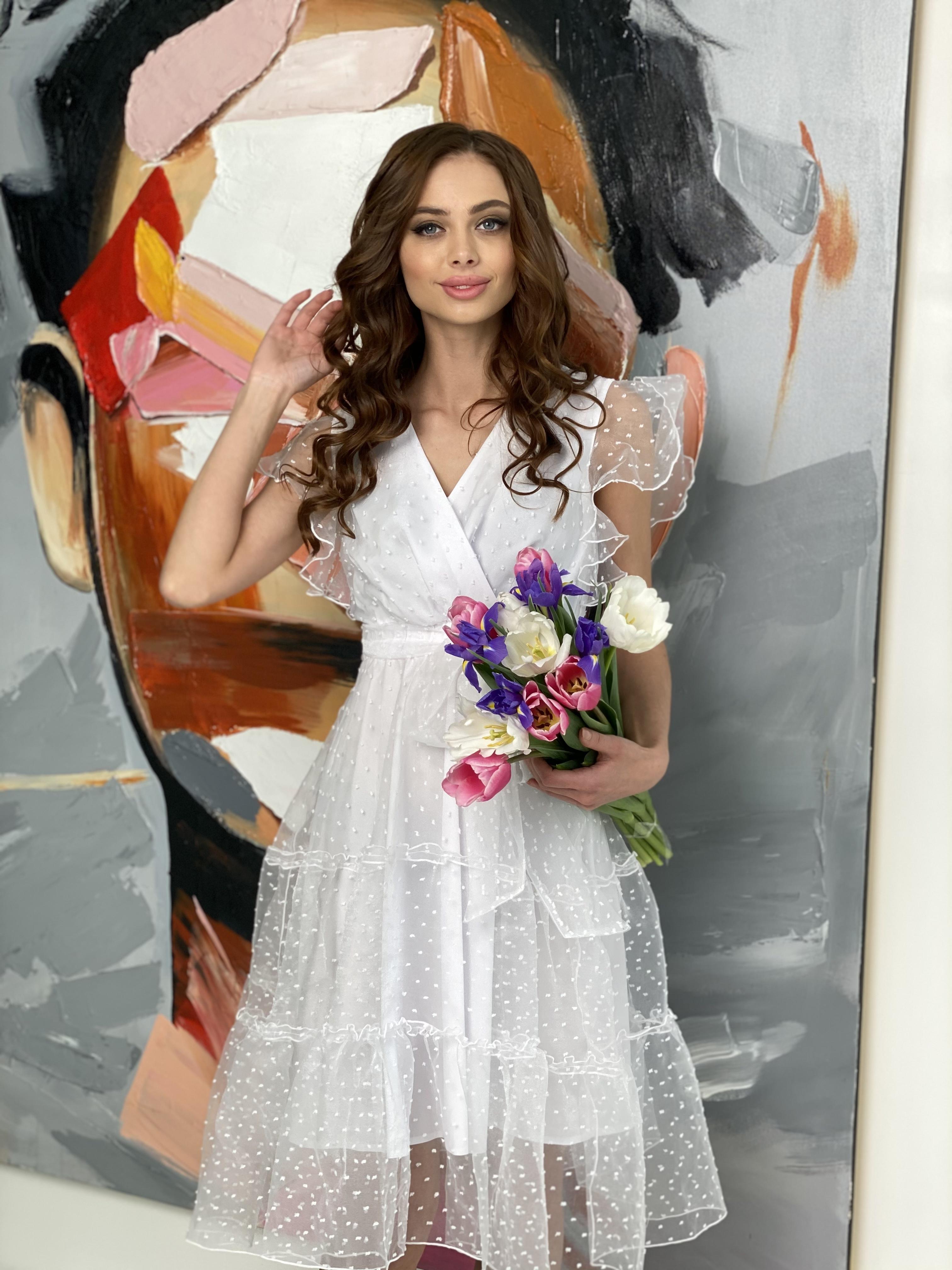Манана платье из органзы  9101 АРТ. 45422 Цвет: Белый - фото 4, интернет магазин tm-modus.ru
