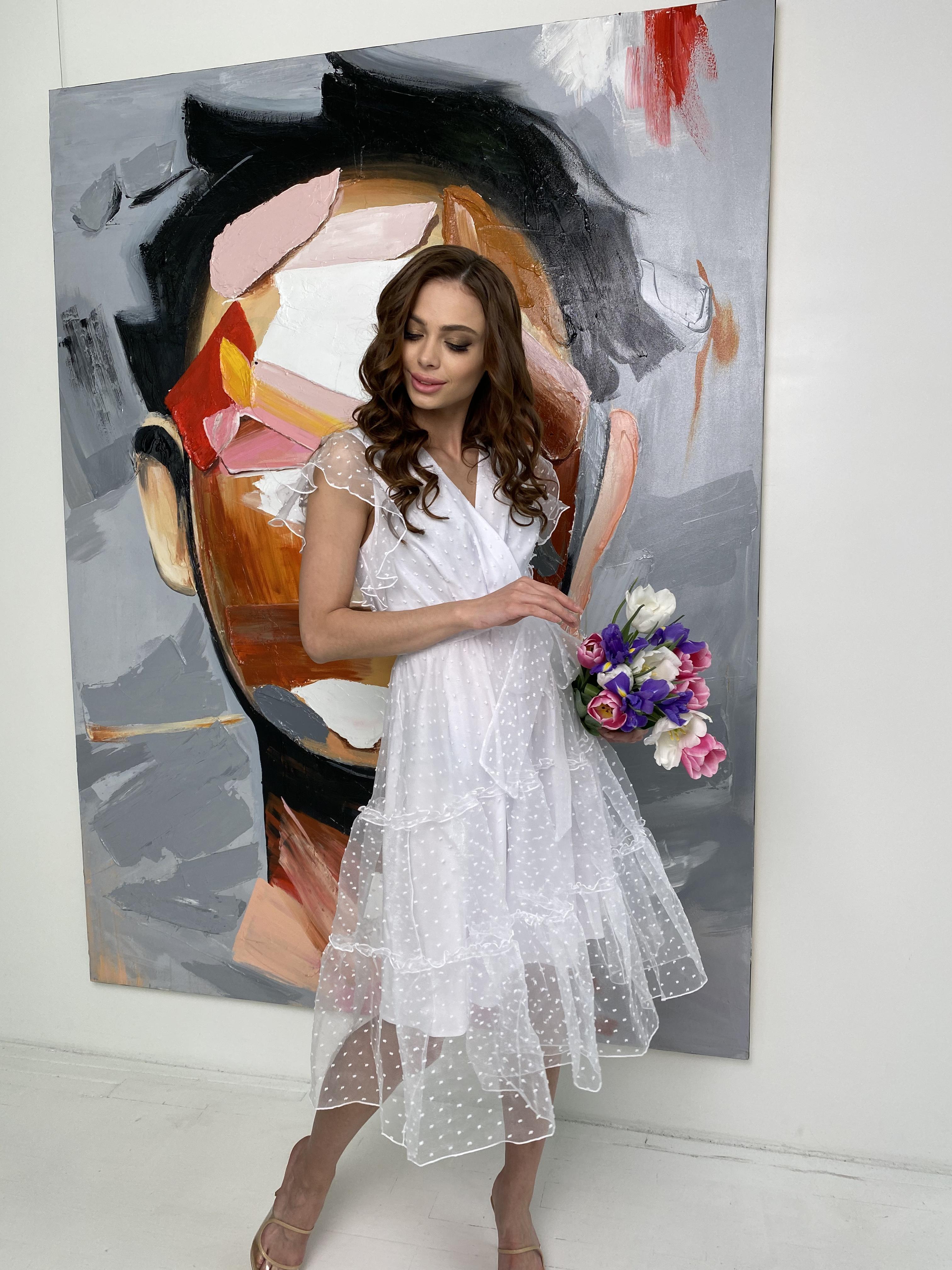 Манана платье из органзы  9101 АРТ. 45422 Цвет: Белый - фото 5, интернет магазин tm-modus.ru