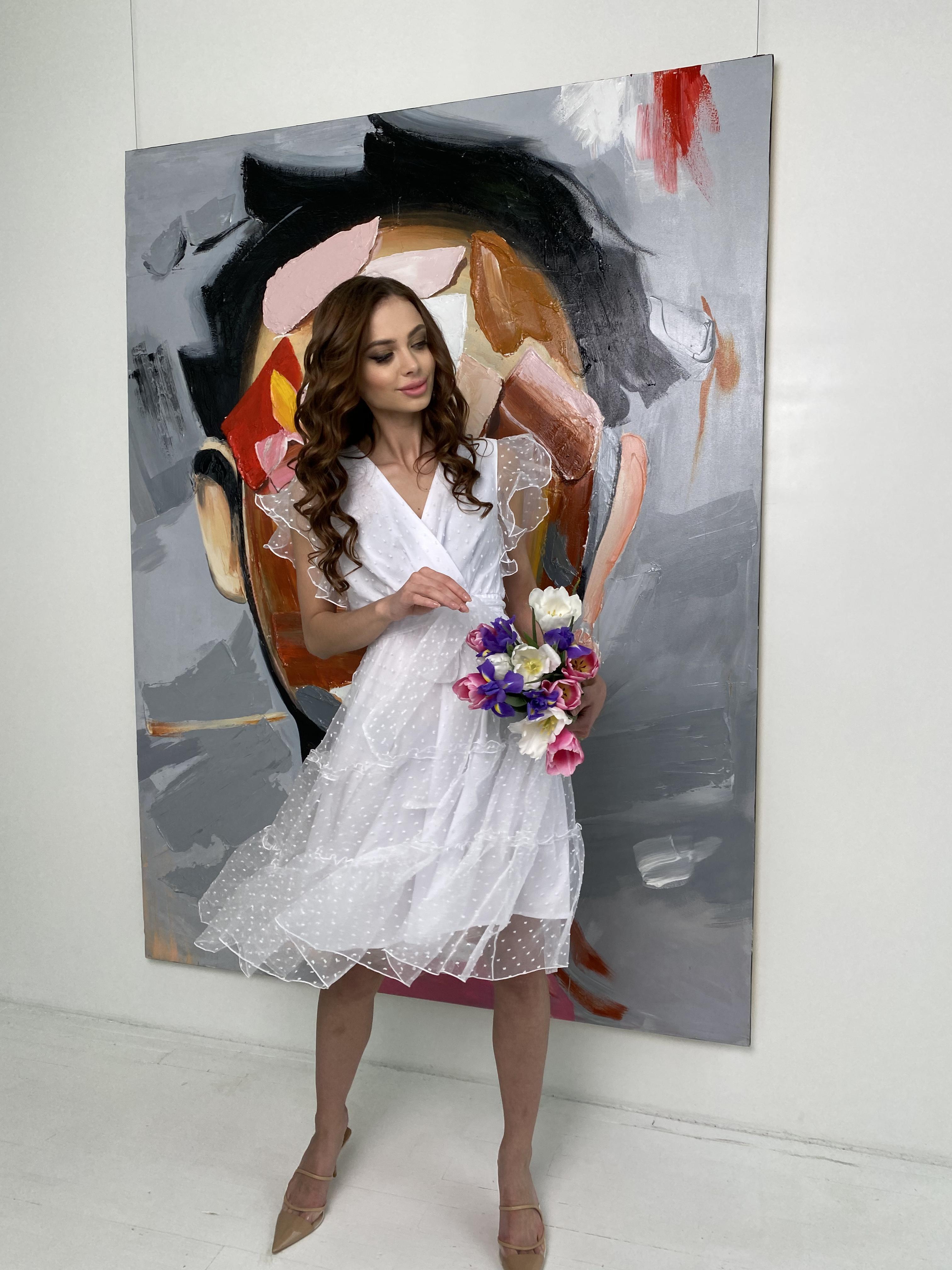 Манана платье из органзы  9101 АРТ. 45422 Цвет: Белый - фото 6, интернет магазин tm-modus.ru