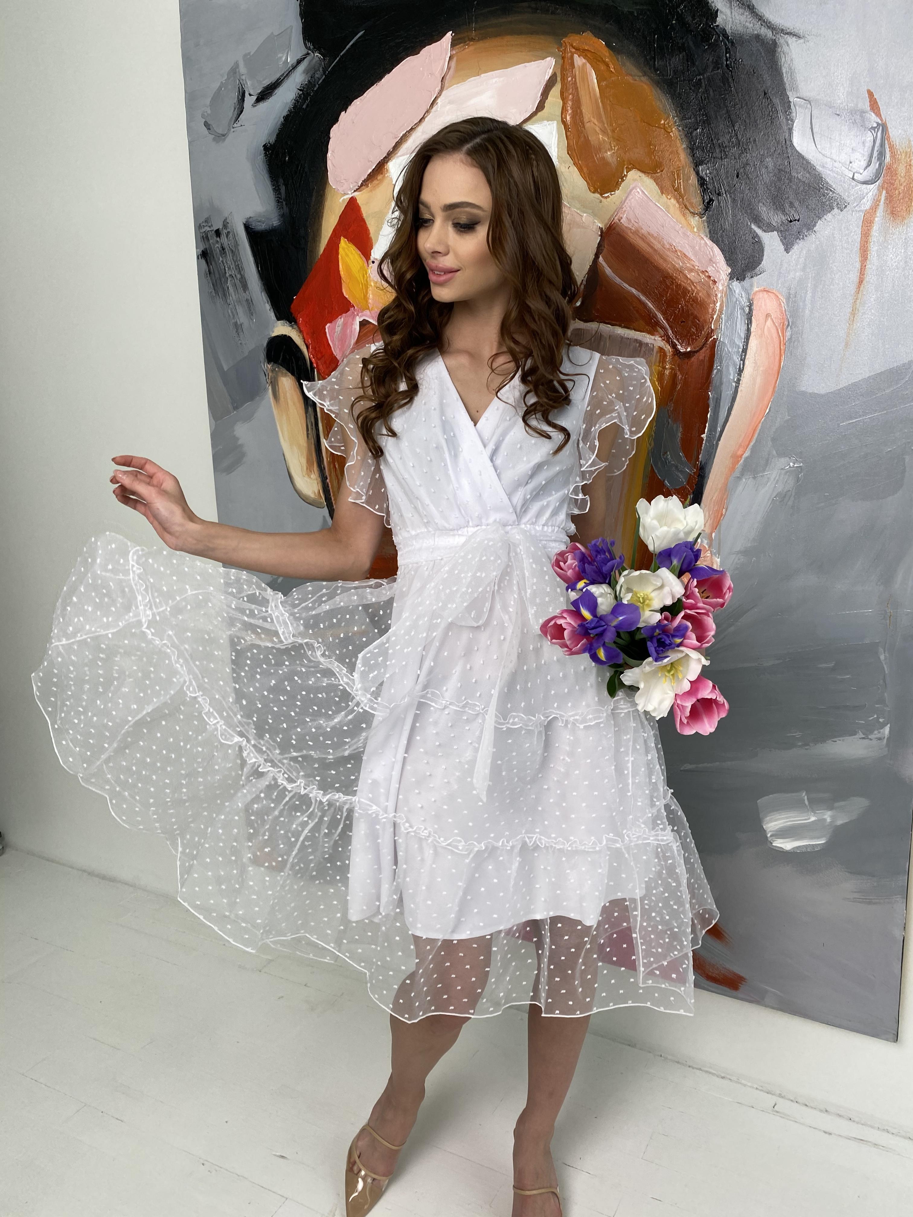 Манана платье из органзы  9101 АРТ. 45422 Цвет: Белый - фото 7, интернет магазин tm-modus.ru