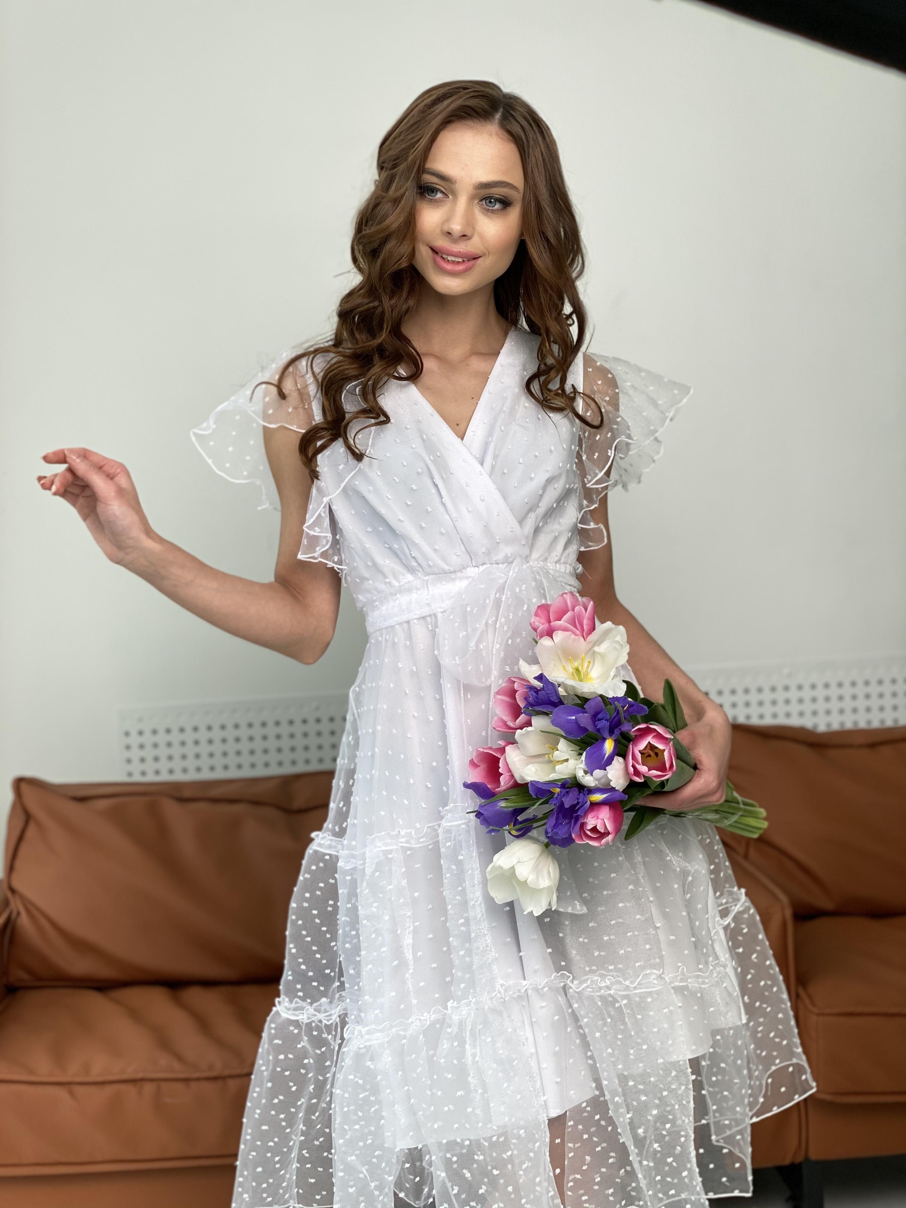 Манана платье из органзы  9101 АРТ. 45422 Цвет: Белый - фото 10, интернет магазин tm-modus.ru