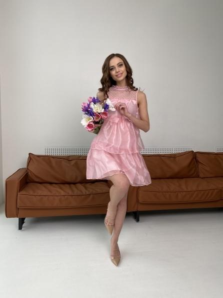 Перри платье из органзы 7067 Цвет: Пудра