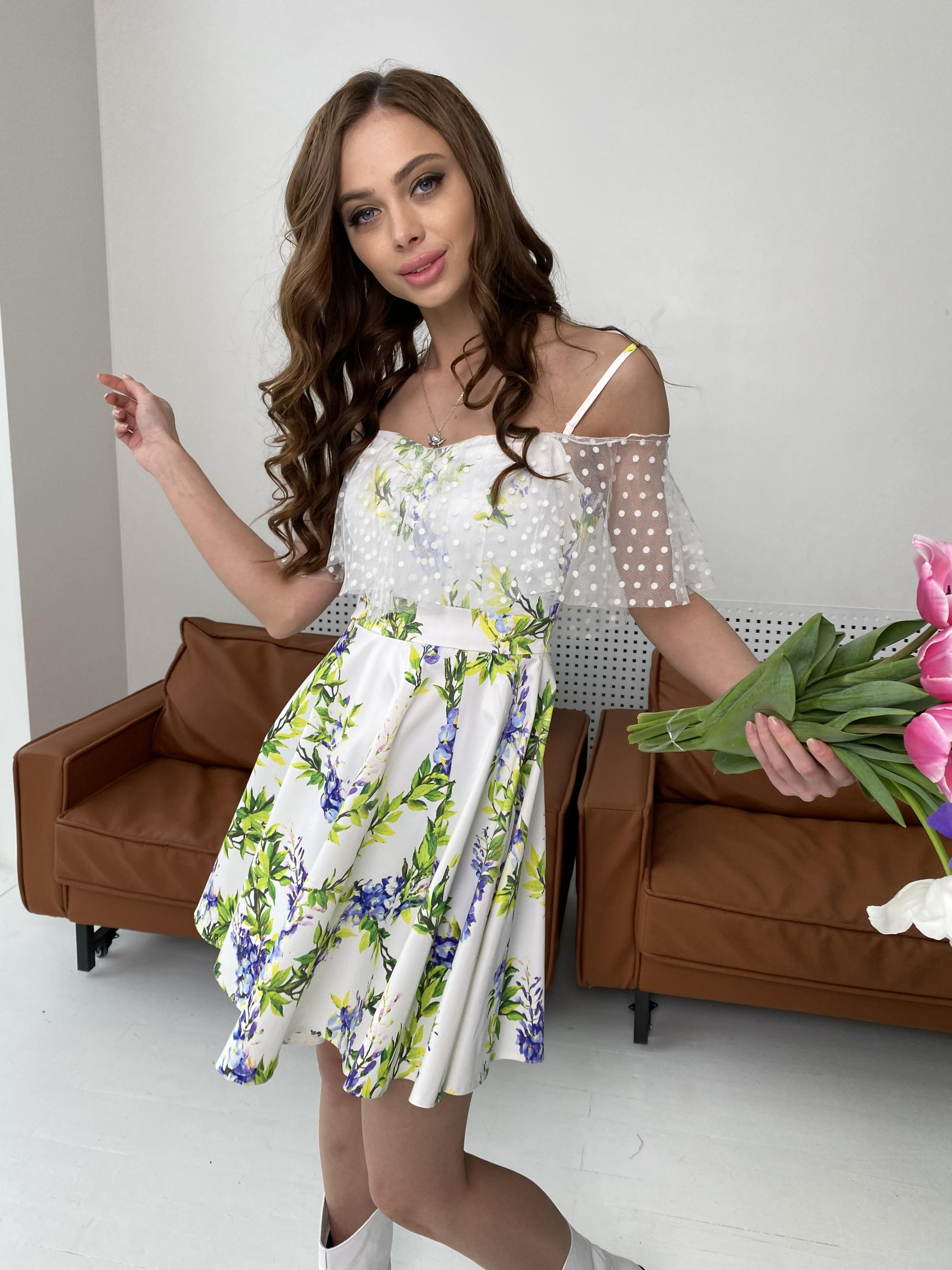 Тори платье из коттона с принтом 7189 АРТ. 43095 Цвет: Цветы фиолет/молоко - фото 3, интернет магазин tm-modus.ru