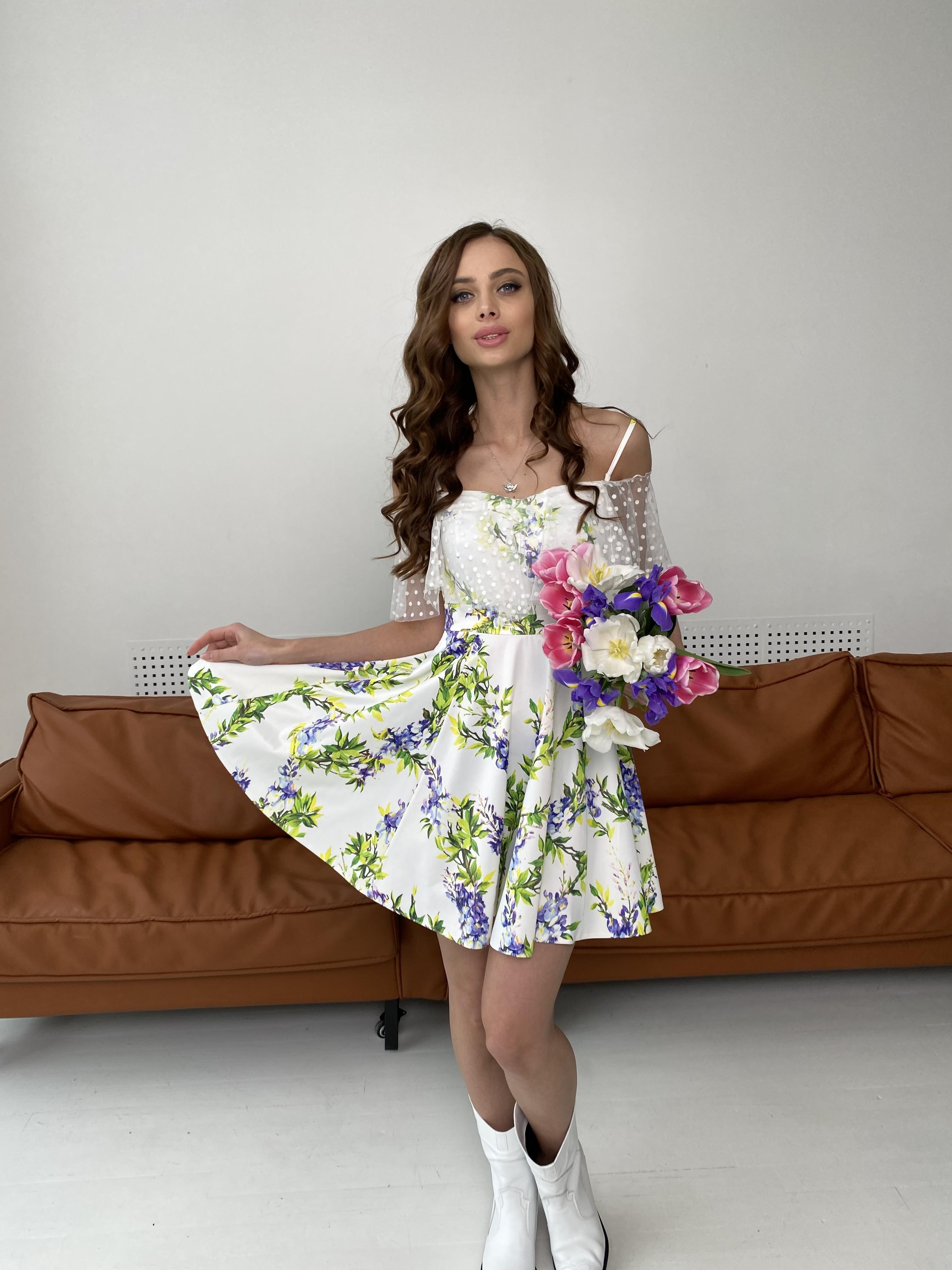 Тори платье из коттона с принтом 7189 АРТ. 43095 Цвет: Цветы фиолет/молоко - фото 4, интернет магазин tm-modus.ru