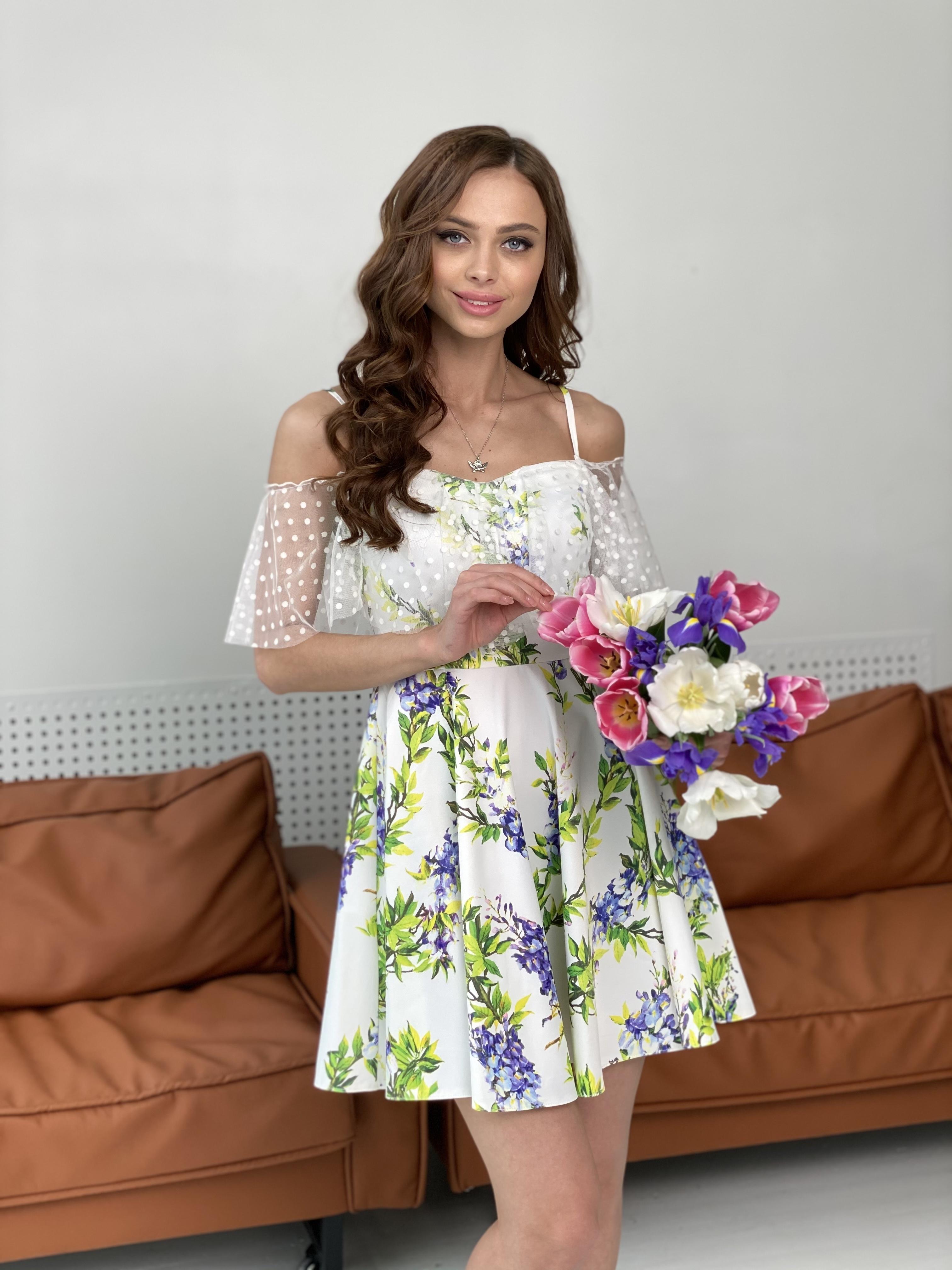Тори платье из коттона с принтом 7189 АРТ. 43095 Цвет: Цветы фиолет/молоко - фото 5, интернет магазин tm-modus.ru