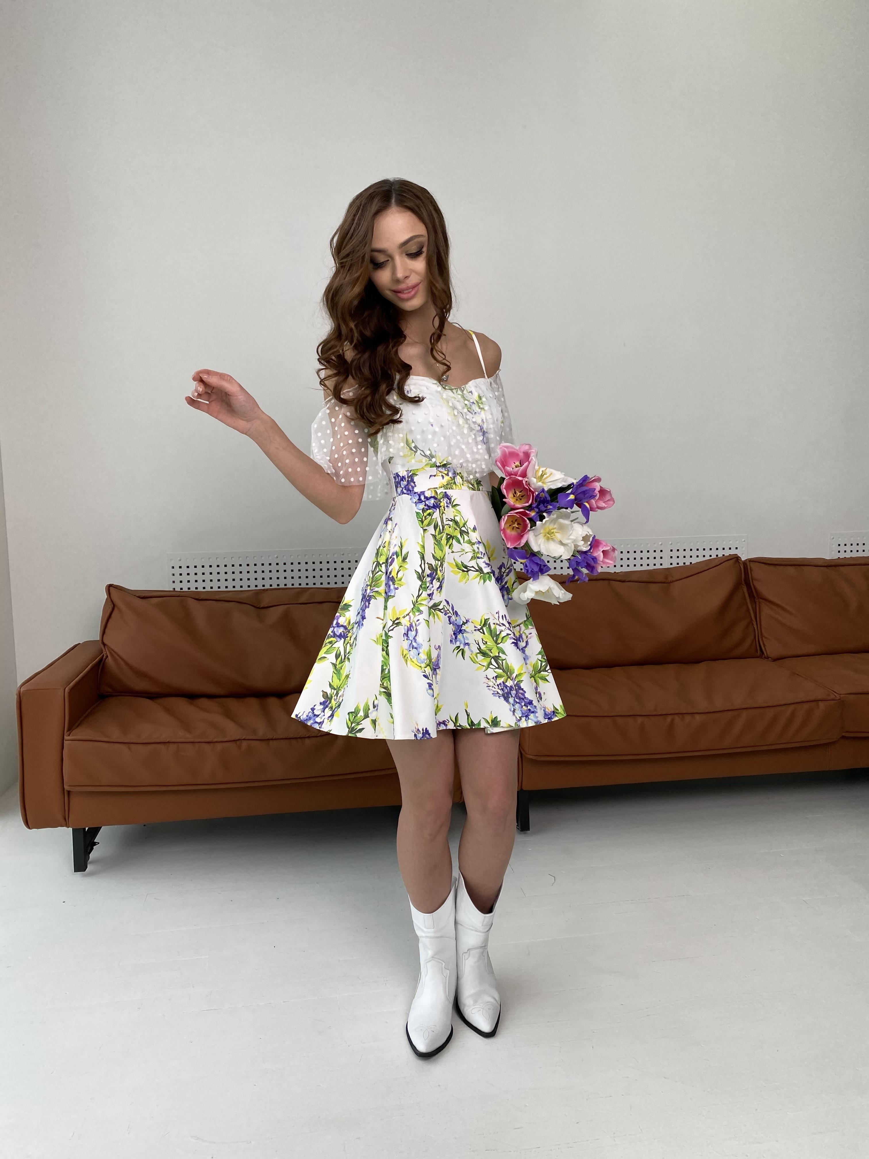 Тори платье из коттона с принтом 7189 АРТ. 43095 Цвет: Цветы фиолет/молоко - фото 6, интернет магазин tm-modus.ru