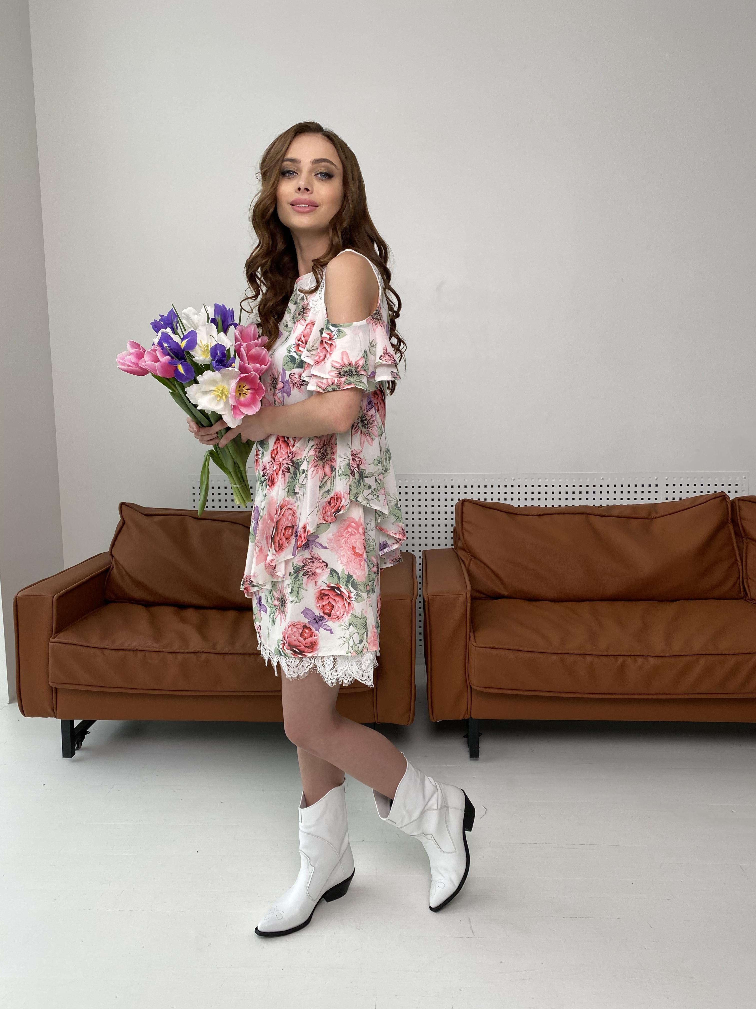 Вито платье из шифона 6945 АРТ. 42410 Цвет: Цветы комби беж - фото 3, интернет магазин tm-modus.ru