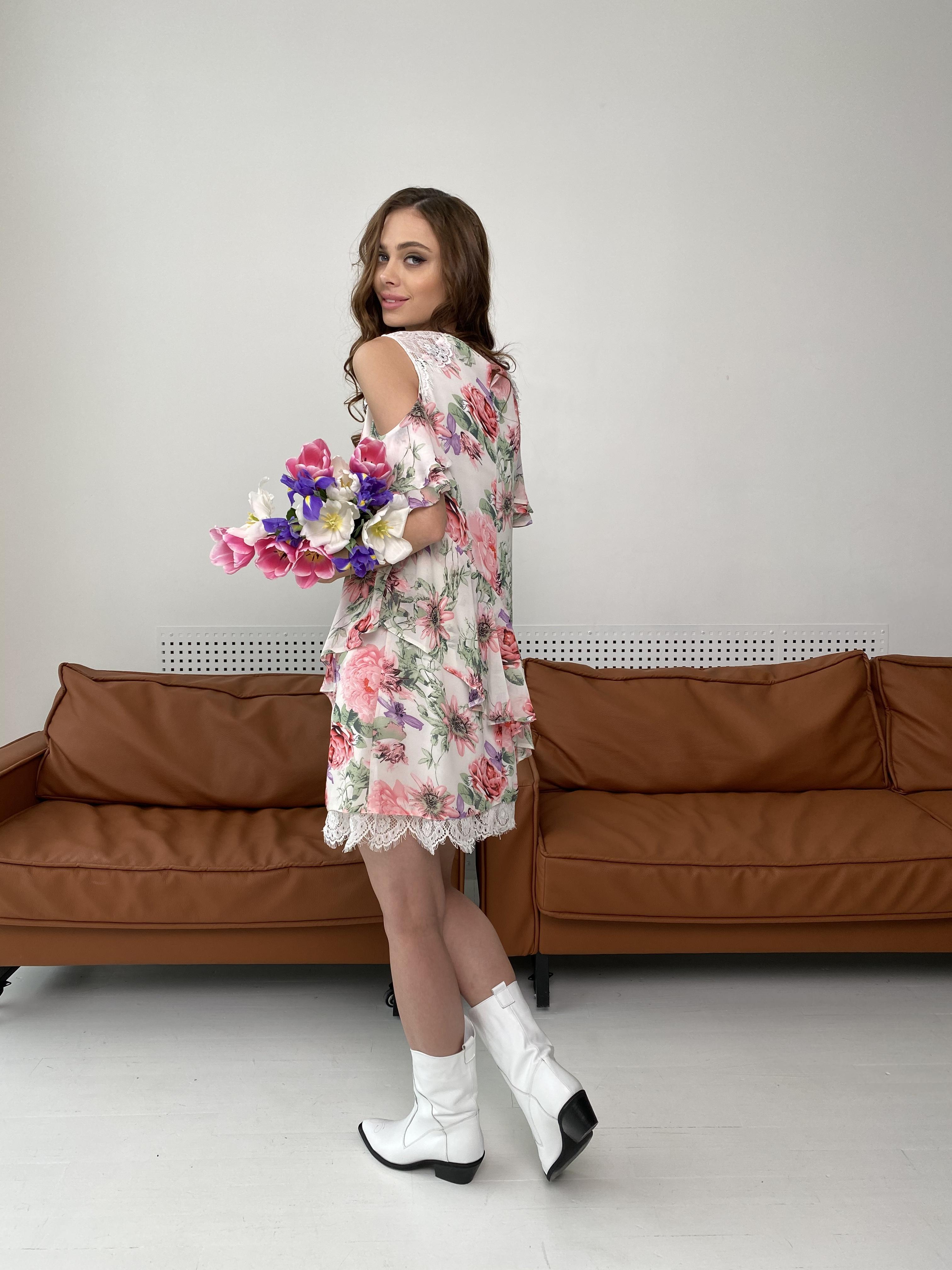 Вито платье из шифона 6945 АРТ. 42410 Цвет: Цветы комби беж - фото 4, интернет магазин tm-modus.ru