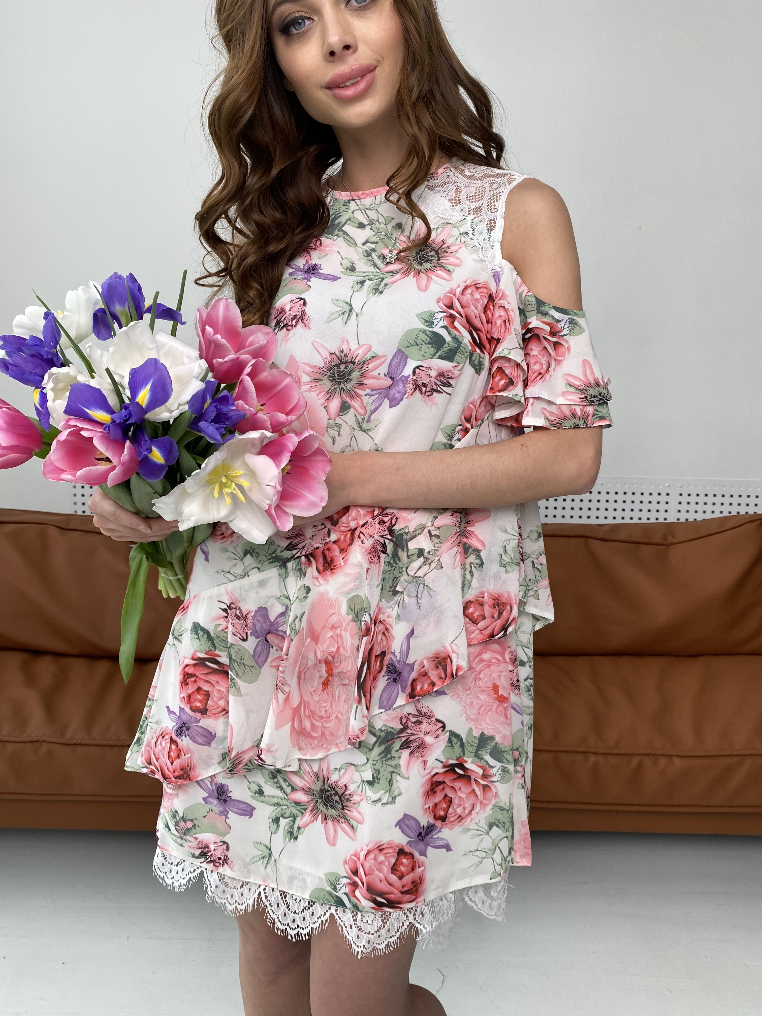 Вито платье из шифона 6945 АРТ. 42410 Цвет: Цветы комби беж - фото 5, интернет магазин tm-modus.ru