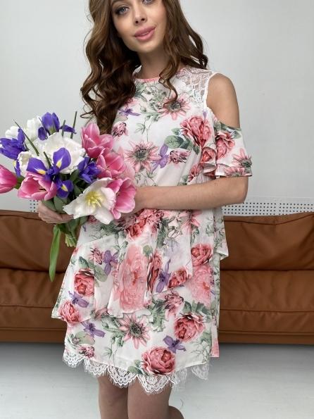 Вито платье из шифона 6945 Цвет: Цветы комби беж